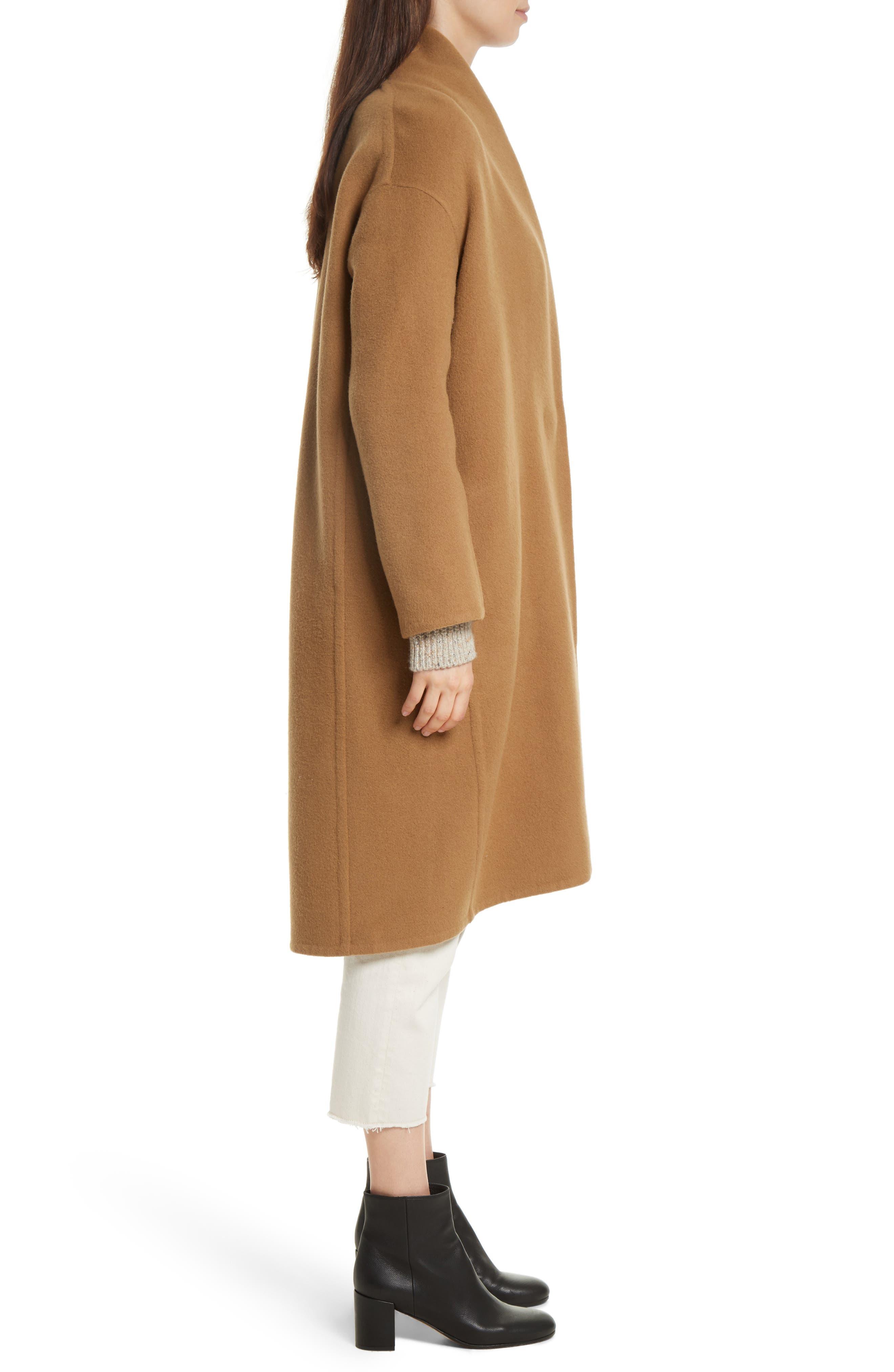 High Collar Long Wool Blend Coat,                             Alternate thumbnail 3, color,                             Camel