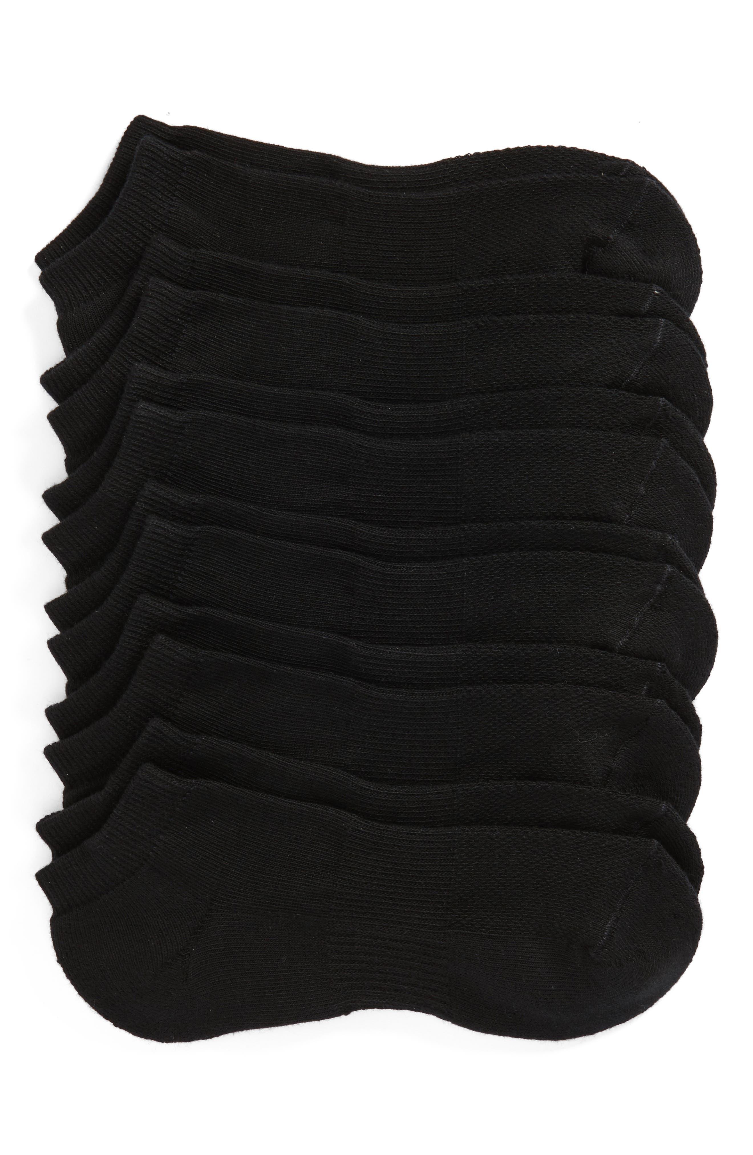 6-Pack Athletic No-Show Socks,                             Main thumbnail 1, color,                             Black