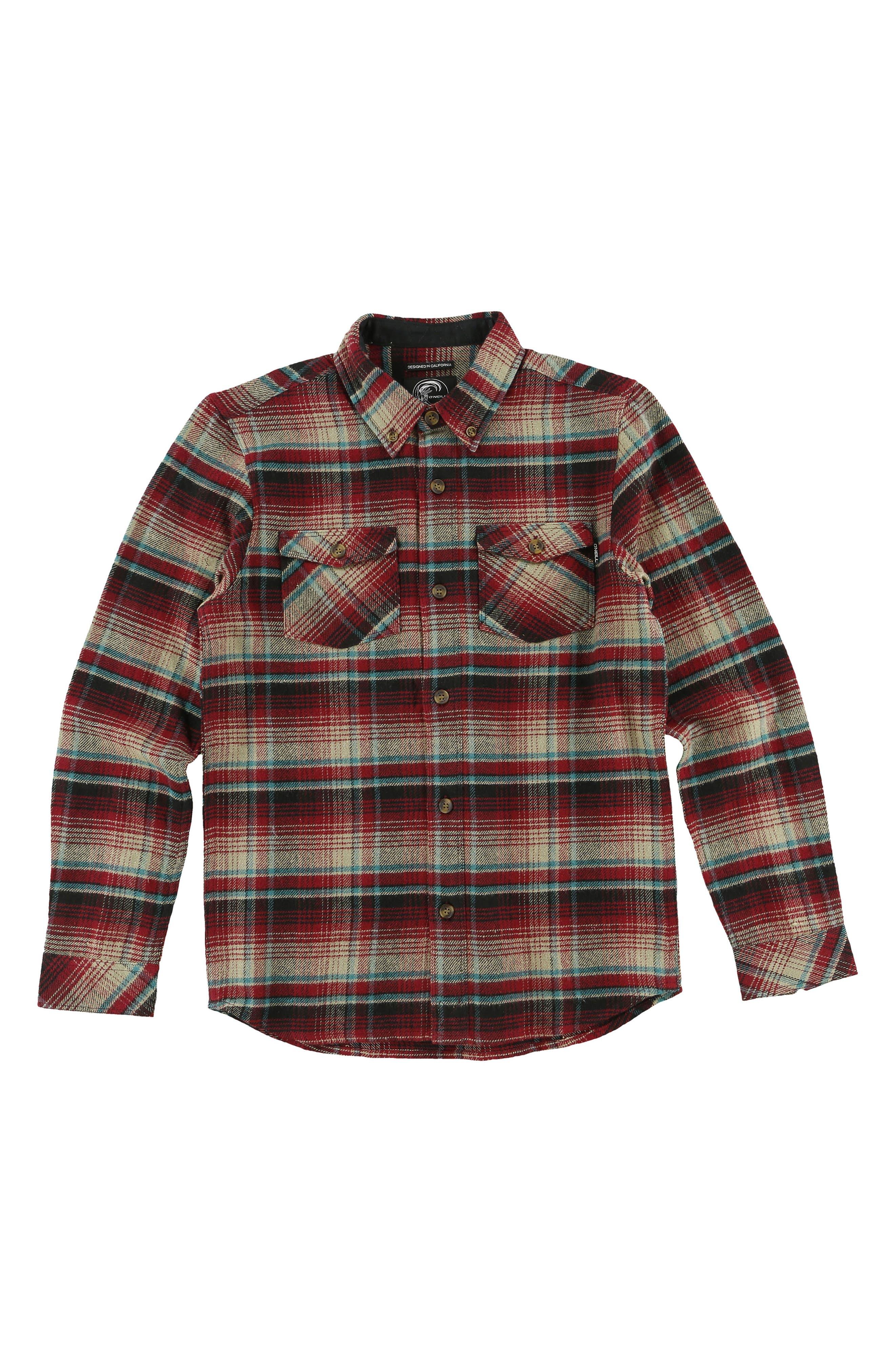 Main Image - O'Neill Butler Plaid Flannel Shirt (Big Boys)