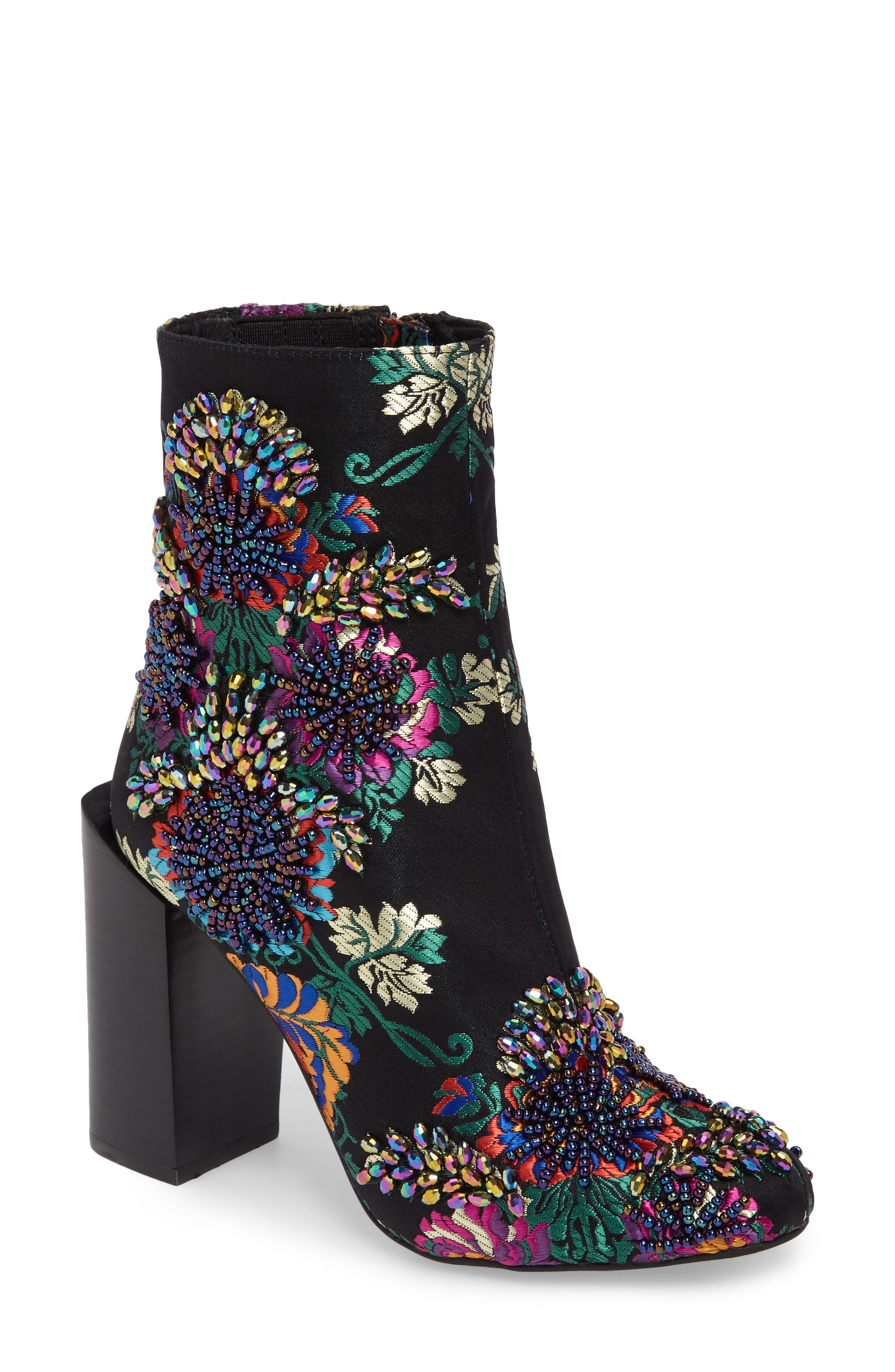 Stratford Embellished Brocade Bootie,                             Main thumbnail 1, color,                             Black Multifloral Combo