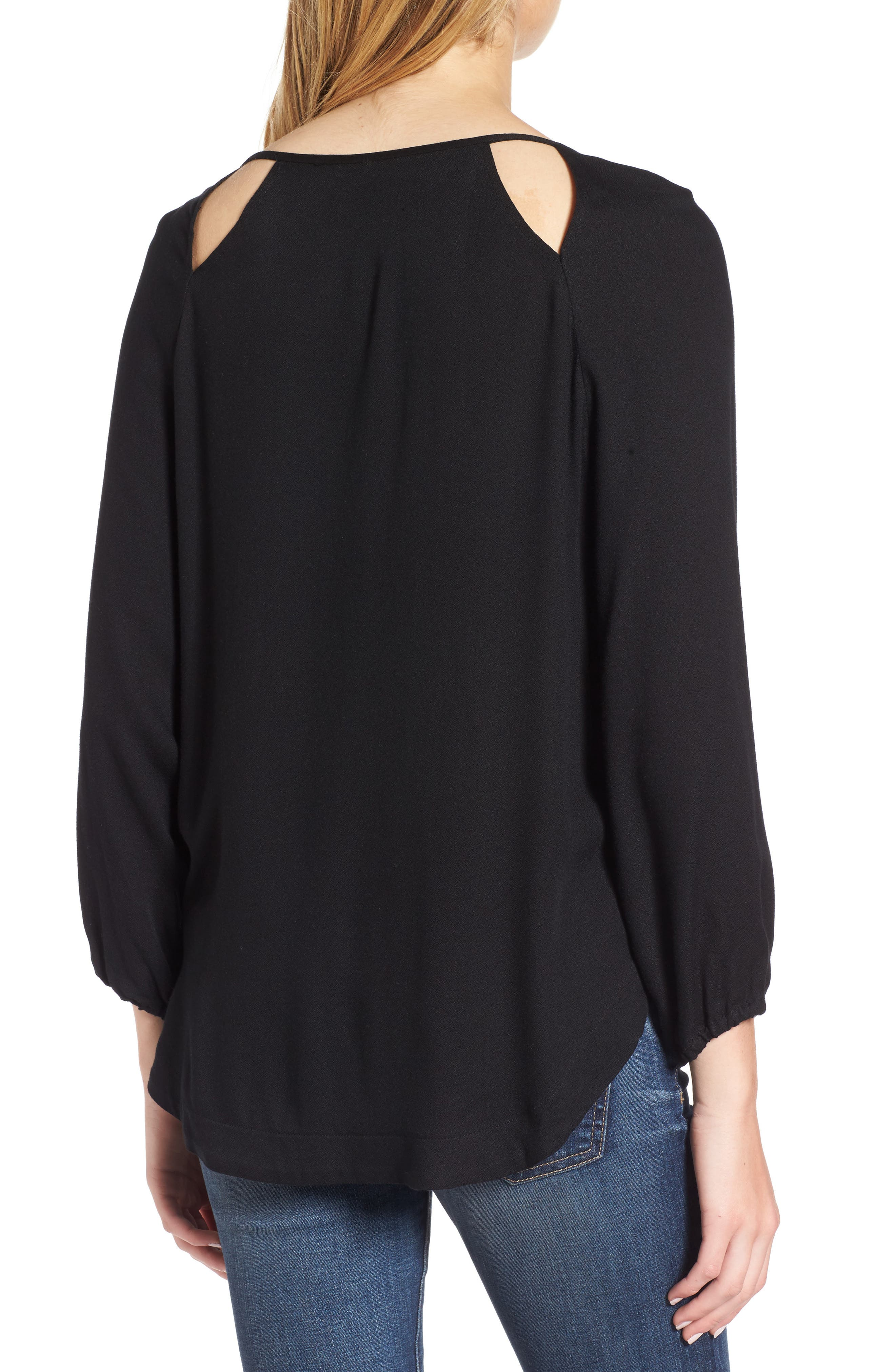 Alternate Image 2  - Ella Moss Stella Cutout Lace-Up Blouse