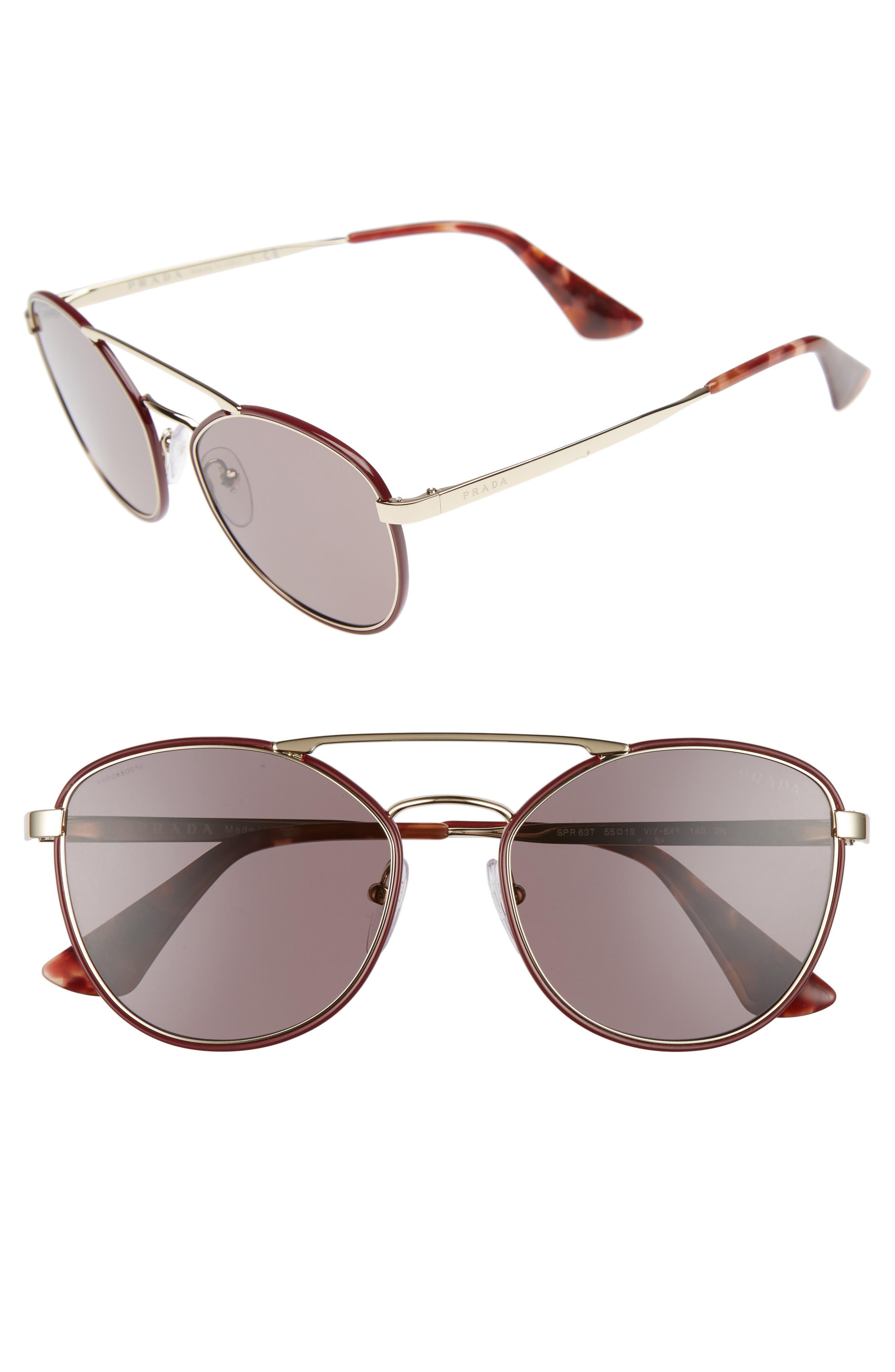 Main Image - Prada 55mm Metal Aviator Sunglasses