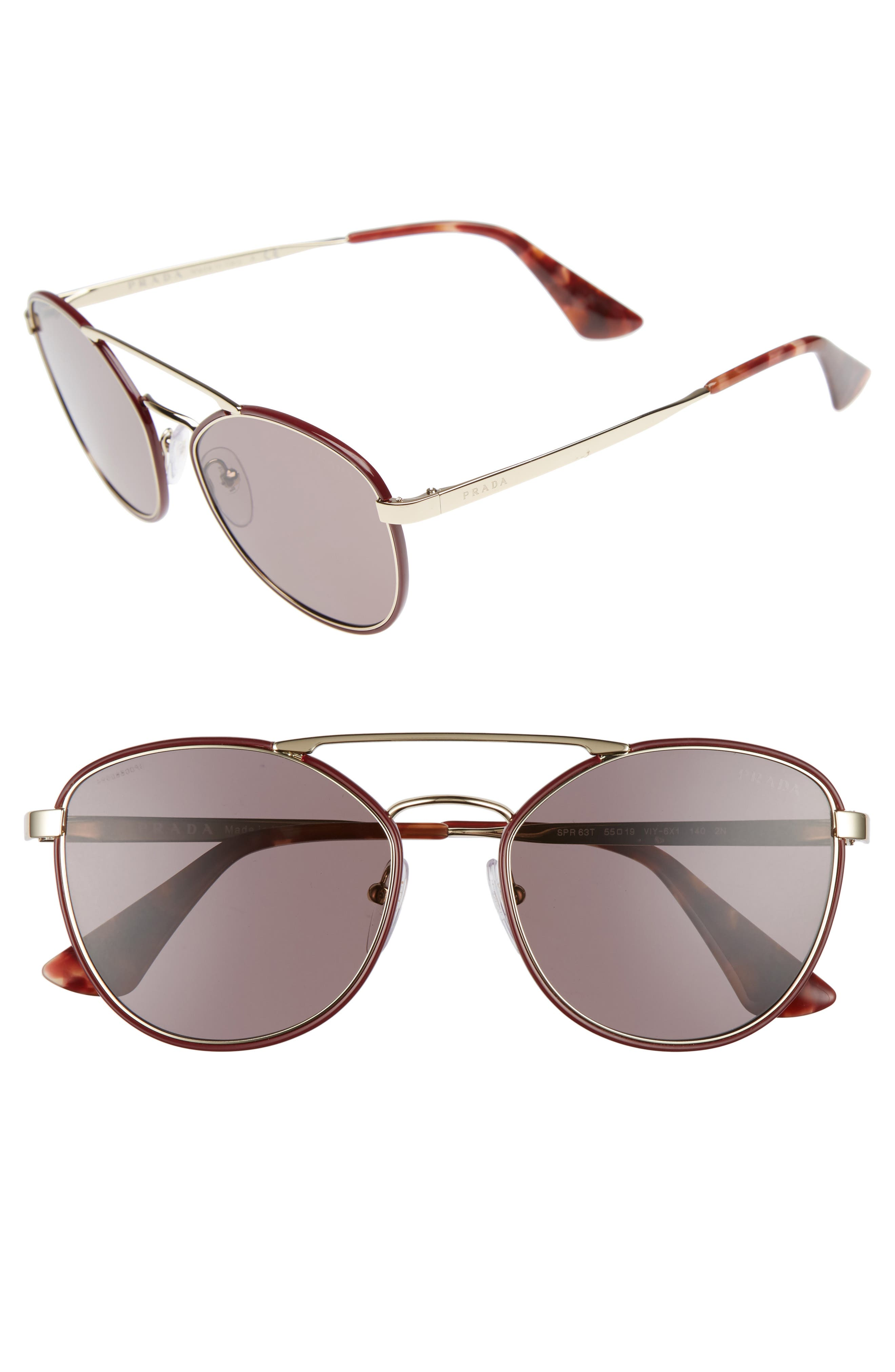 Prada 55mm Metal Aviator Sunglasses
