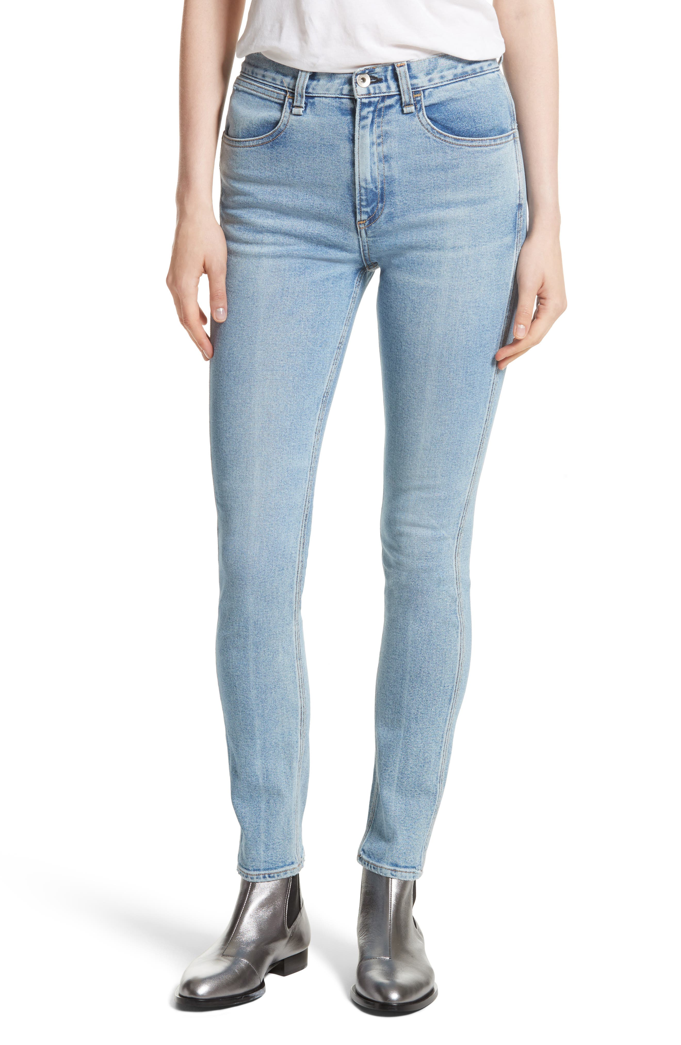 Alternate Image 1 Selected - rag & bone/JEAN Lou High Waist Skinny Jeans (Hotbird)