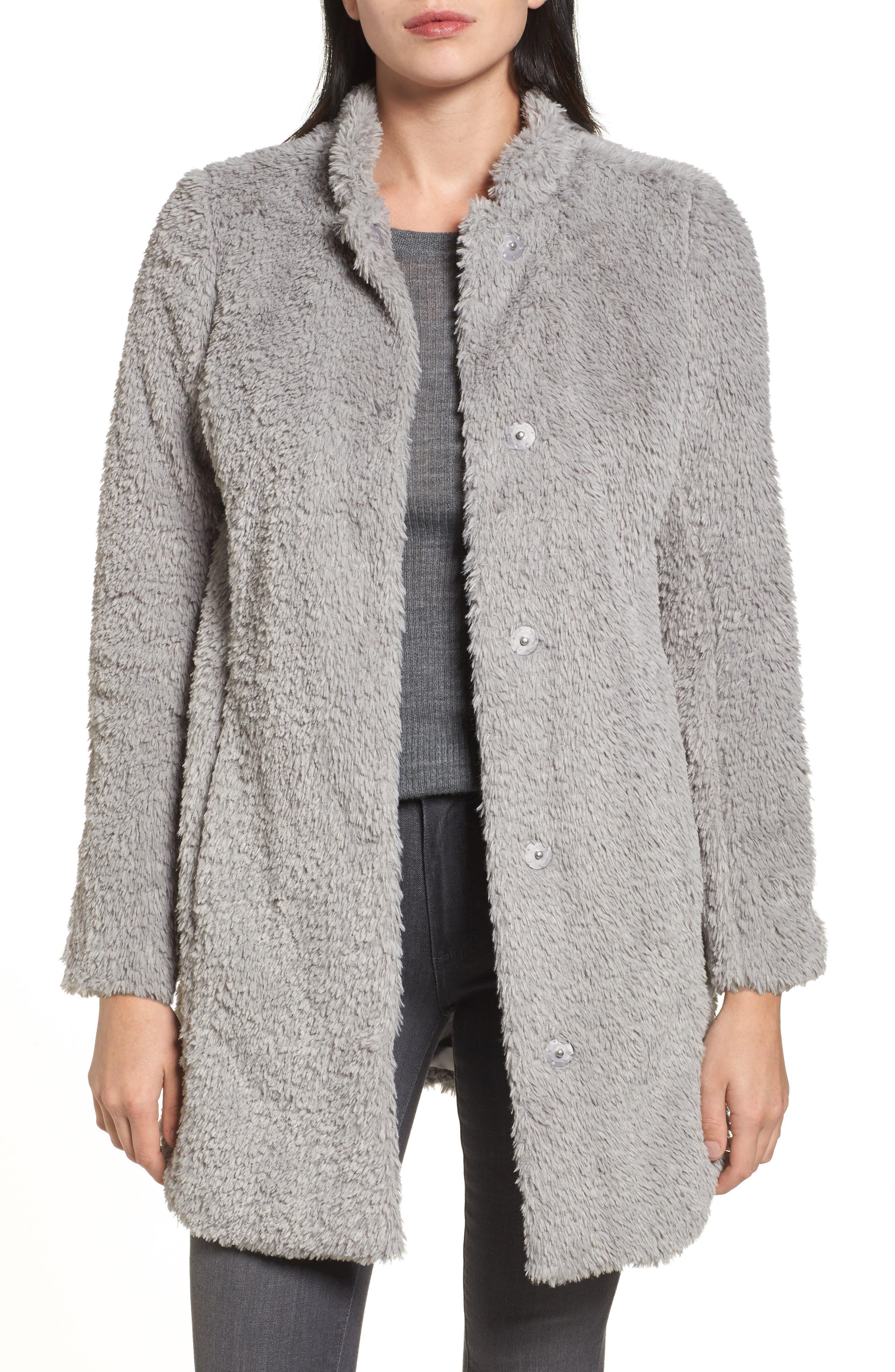 Faux Fur Jacket,                         Main,                         color, Pale Grey