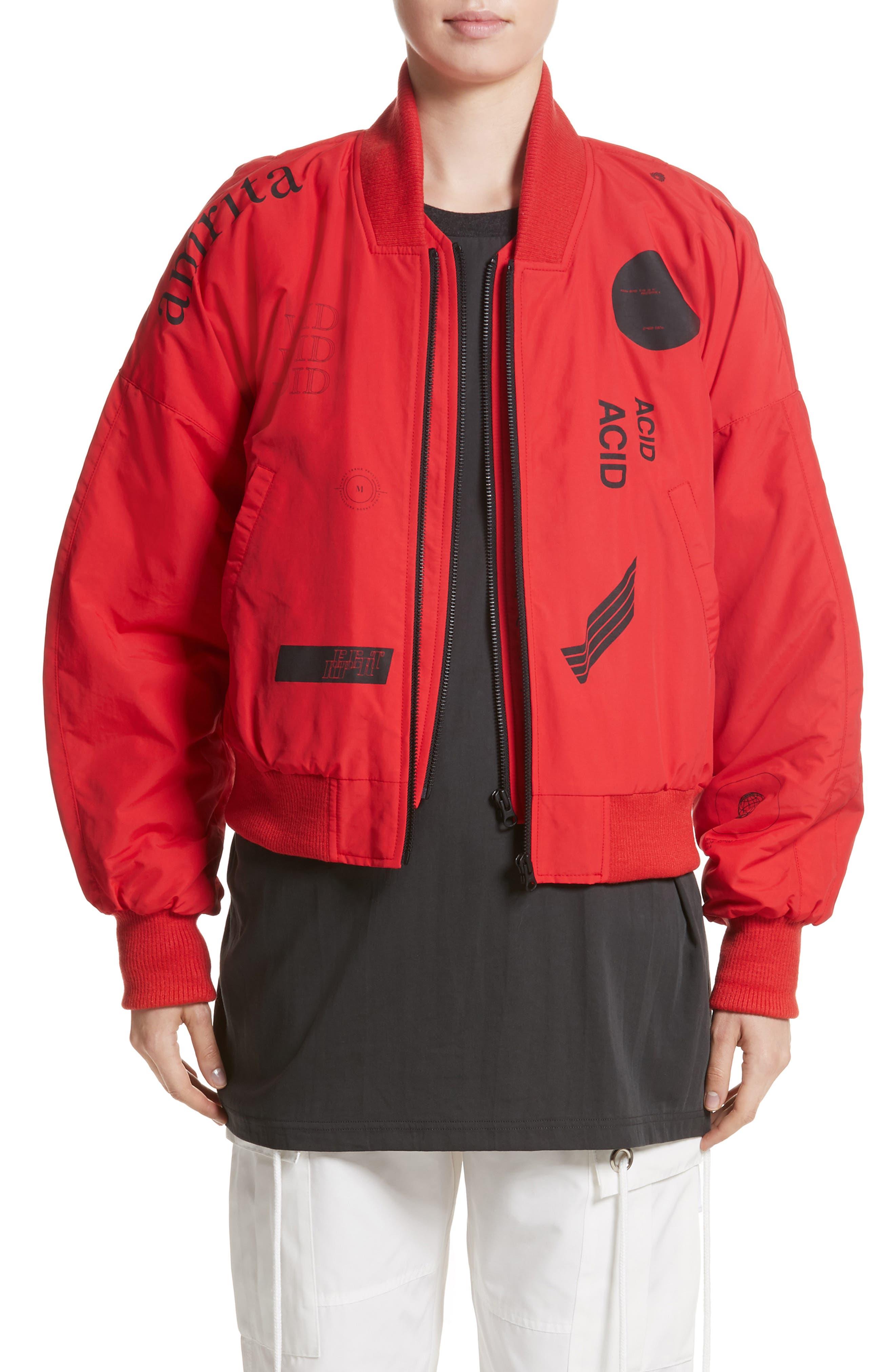 Kaneda Bomber Jacket,                             Main thumbnail 1, color,                             Red