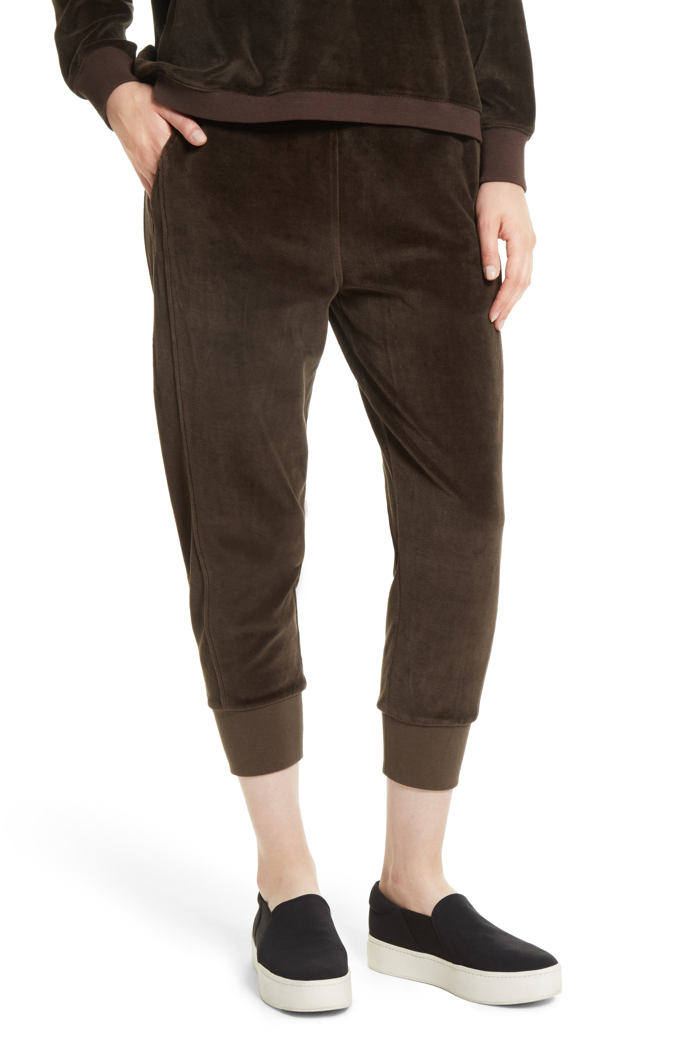 Velour Cuffed Jogger Pants,                         Main,                         color, Balsamic