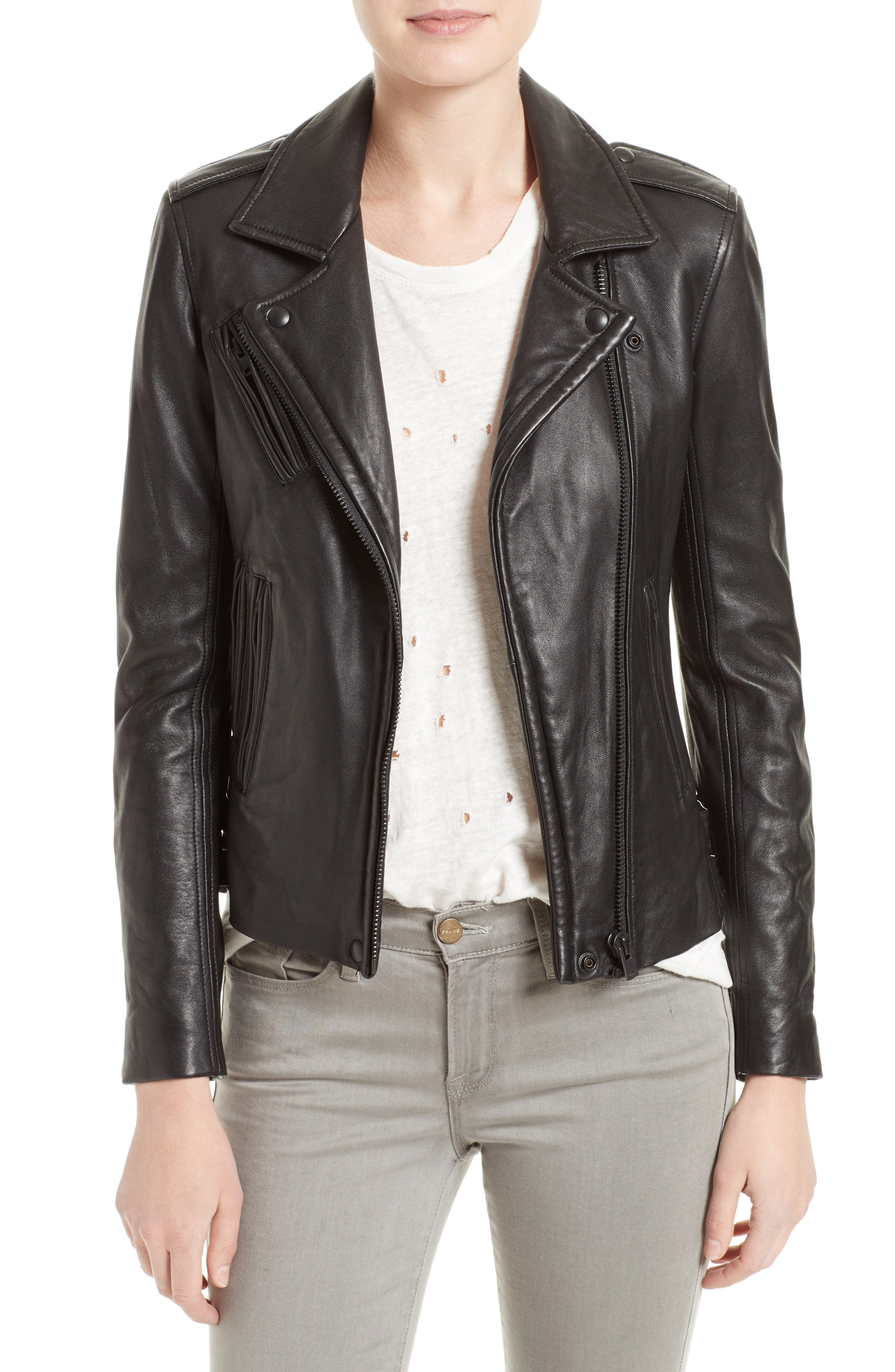 'Han' Lambskin Leather Moto Jacket,                             Main thumbnail 1, color,                             Black/ Black