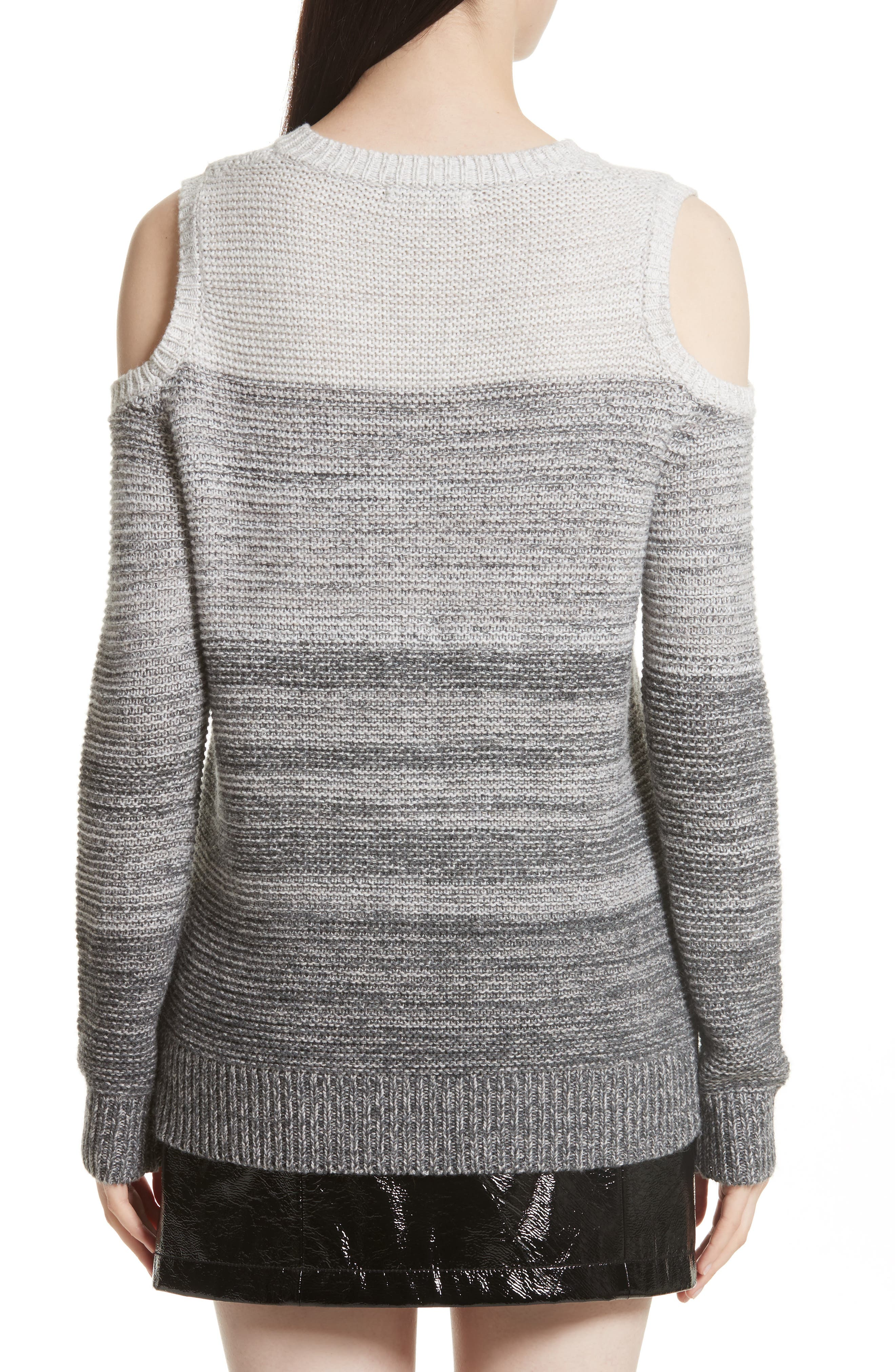 Page Cold Shoulder Sweater,                             Alternate thumbnail 2, color,                             Grey Ombre