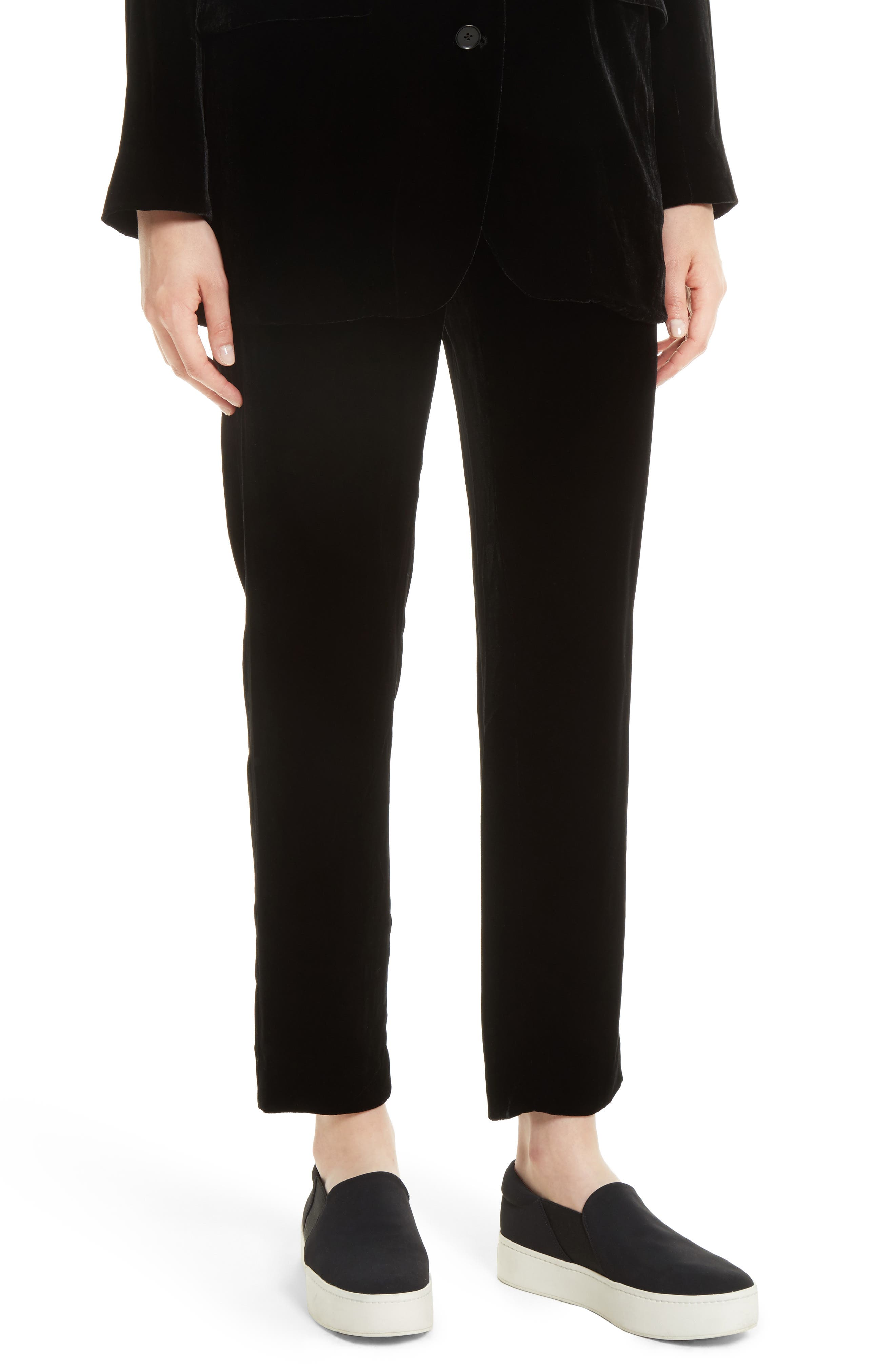 Single Pleat Pull-On Trousers,                         Main,                         color, Black