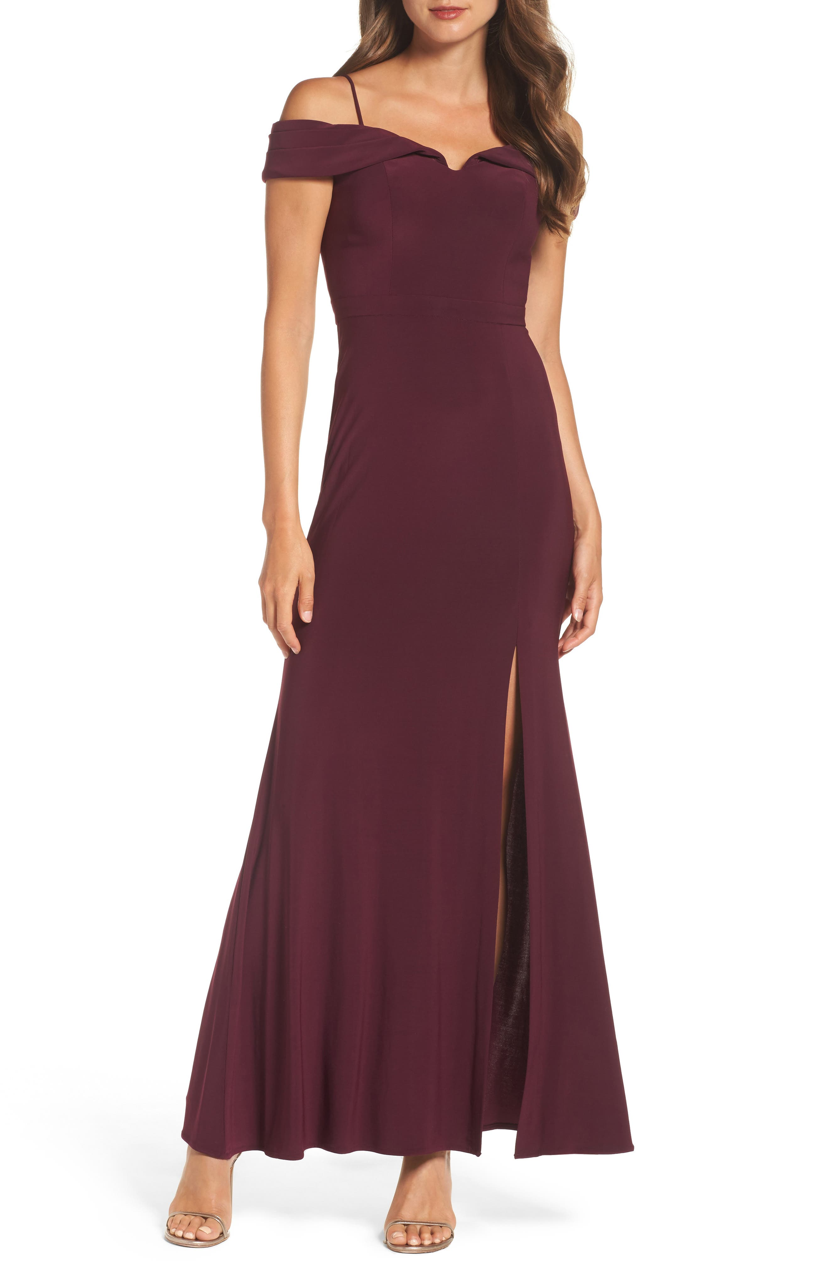 Off the Shoulder Gown,                             Main thumbnail 1, color,                             Wine