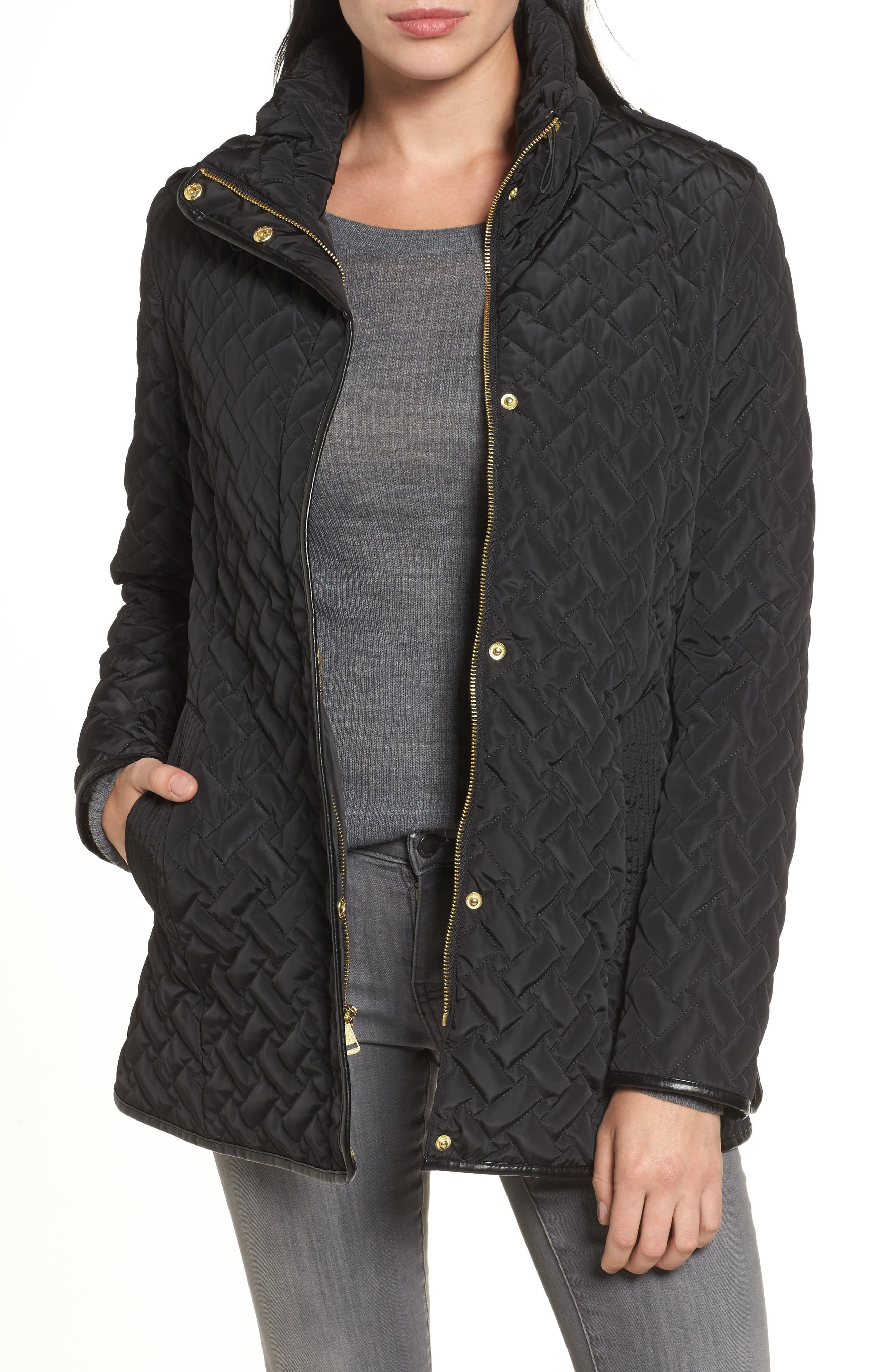 Cole Haan Quilted Jacket,                         Main,                         color, Black