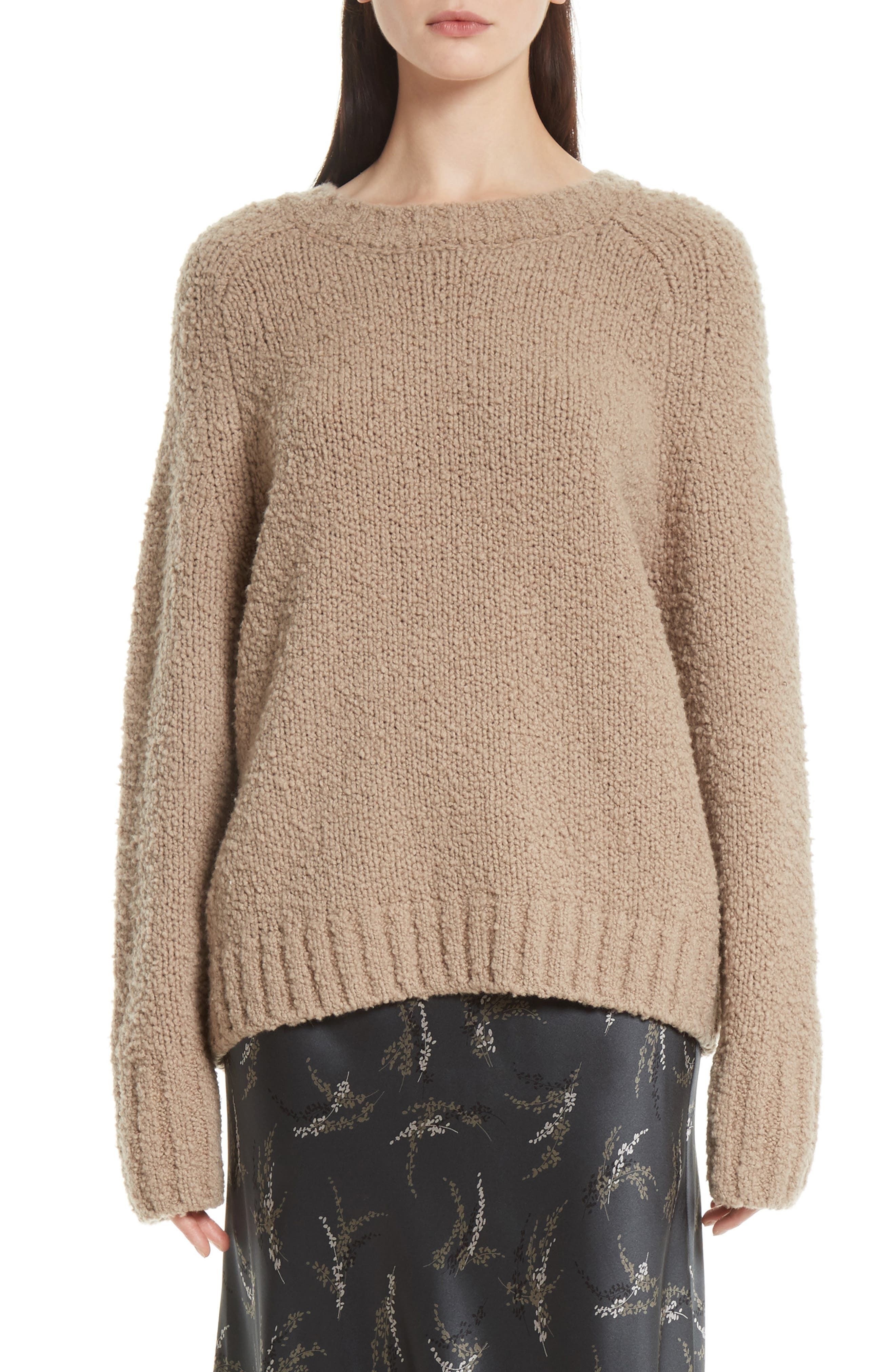 Saddle Sleeve Wool Sweater,                         Main,                         color, Soil