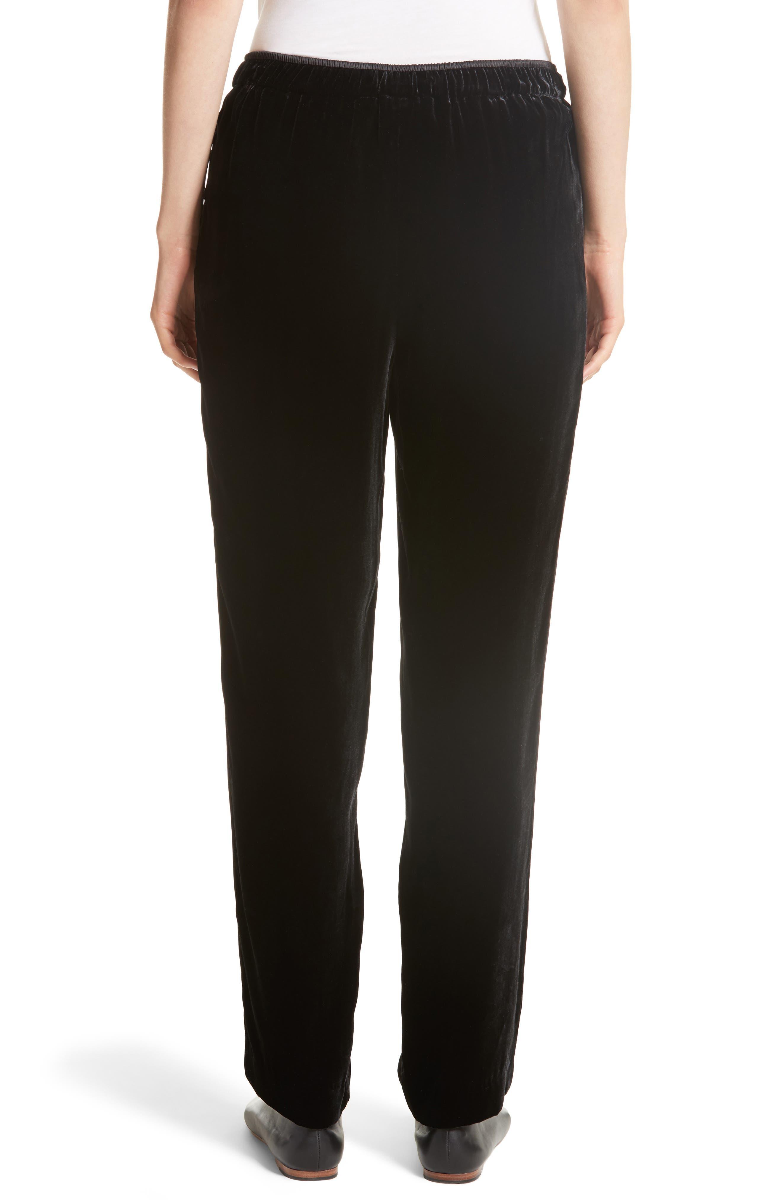 Soho Velvet Track Pants,                             Alternate thumbnail 2, color,                             Black