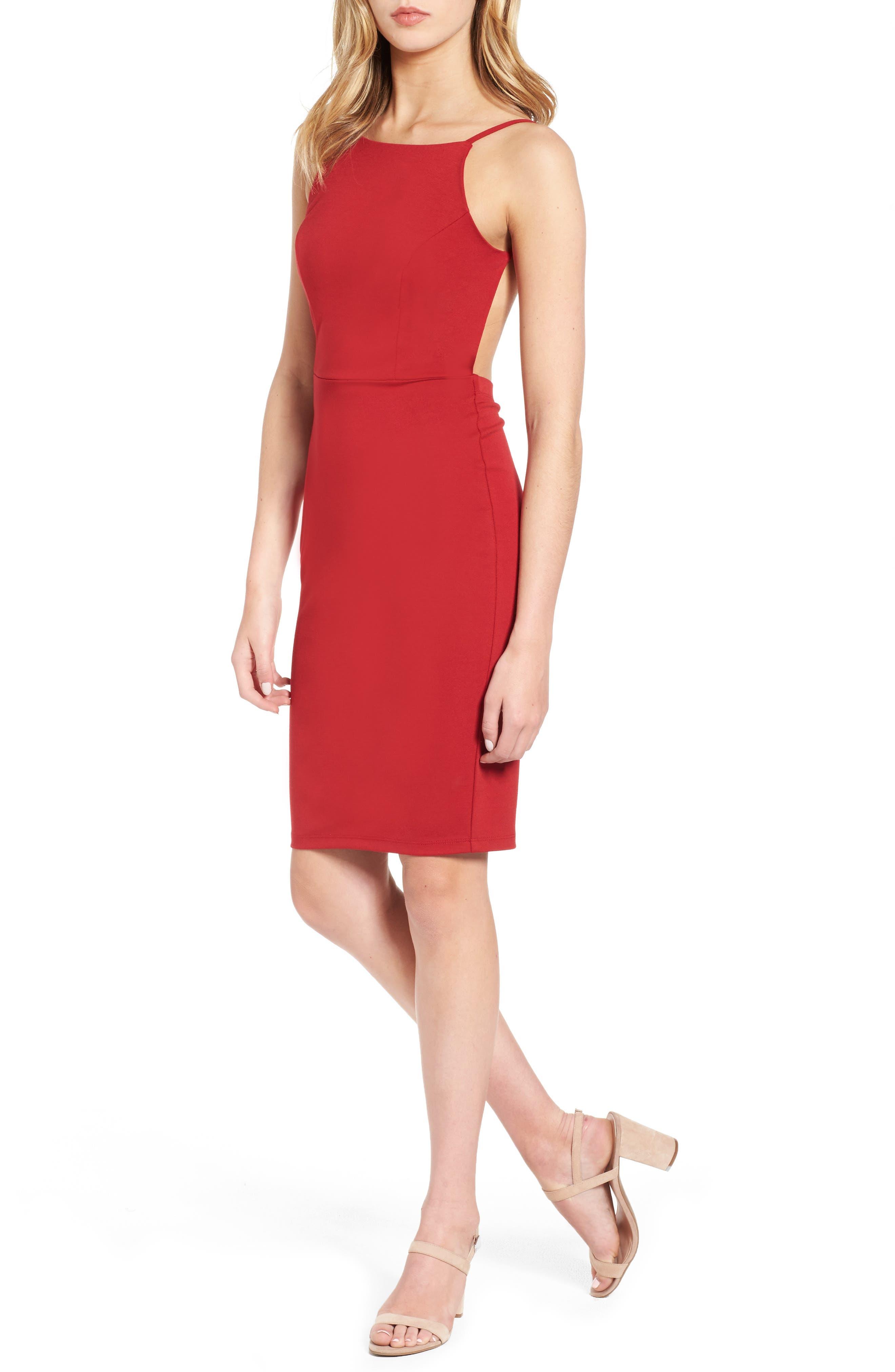 Open Back Body-Con Dress,                         Main,                         color, True Red