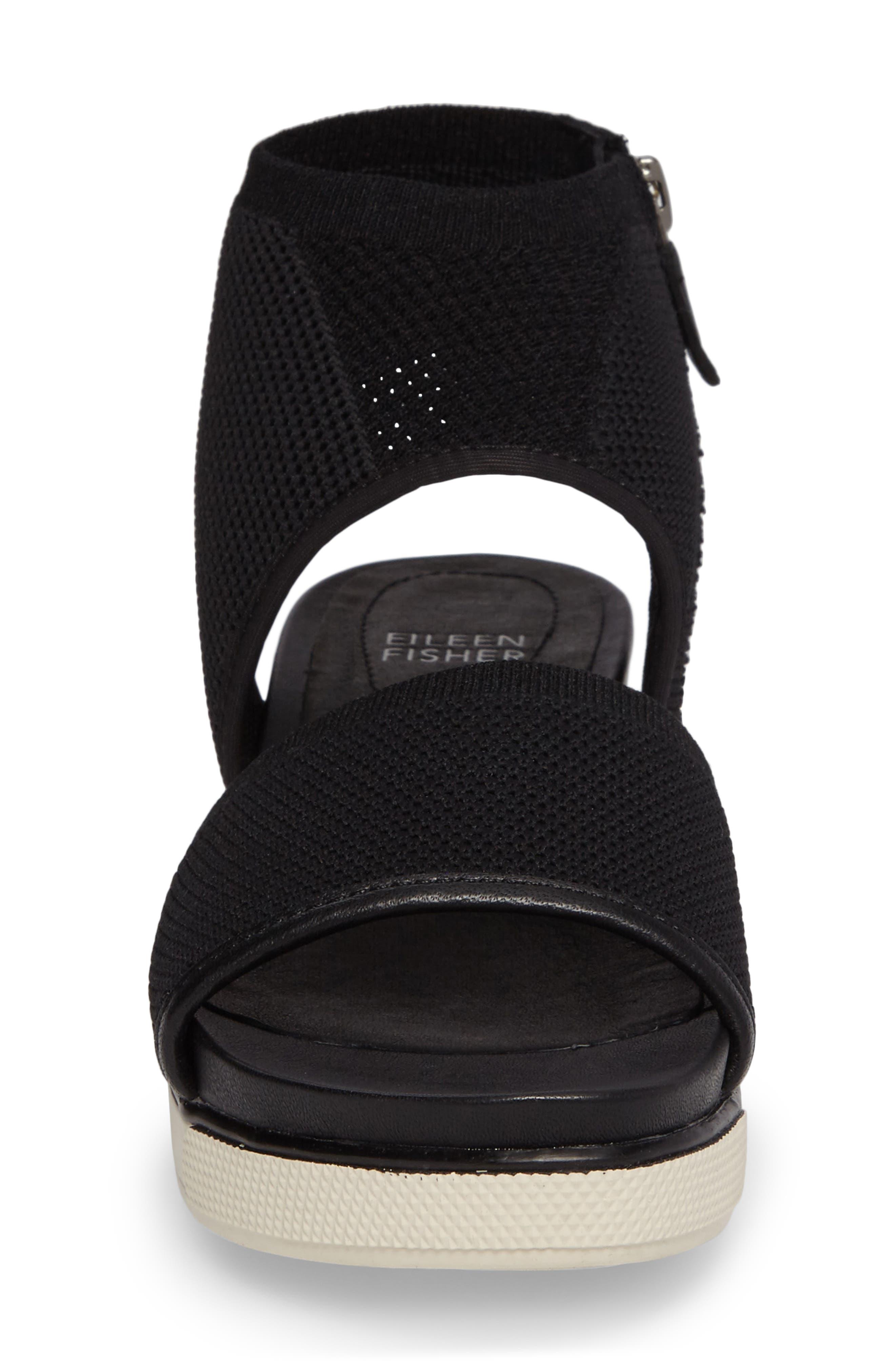 Knit Sport Sandal,                             Alternate thumbnail 4, color,                             Black Fabric