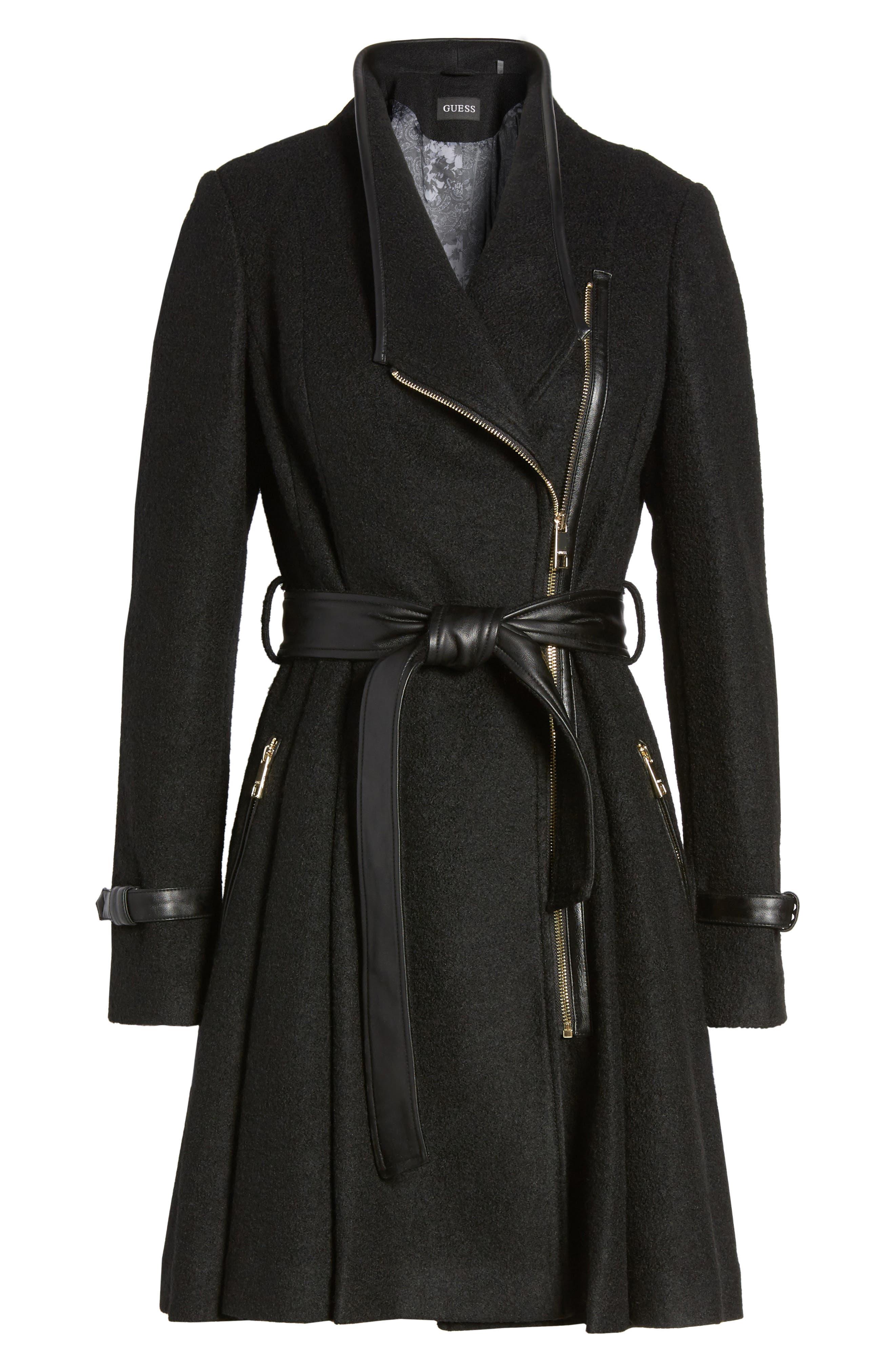 Belted Boiled Wool Blend Coat,                             Alternate thumbnail 6, color,                             Black