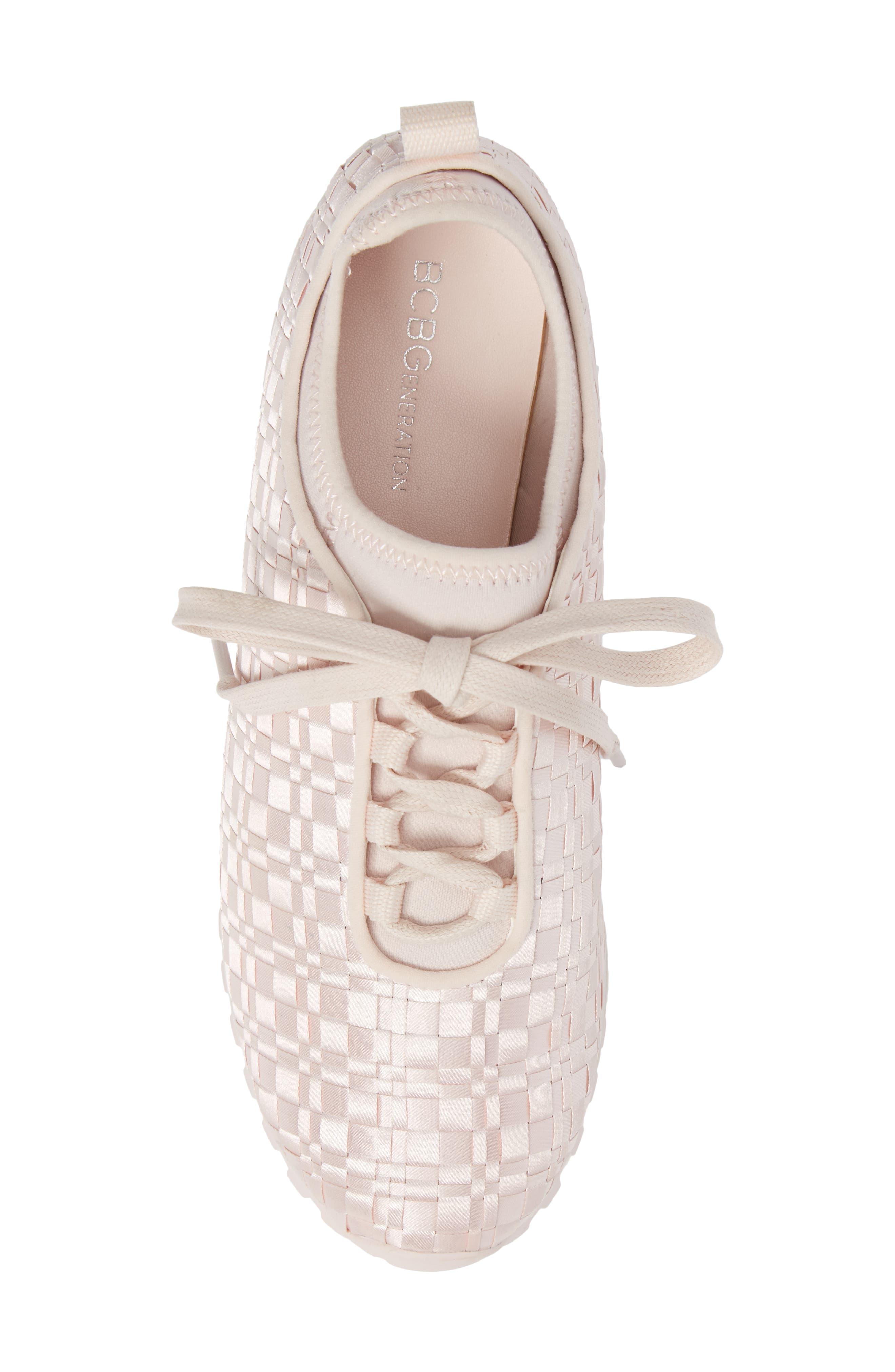 Lynn Sock Fit Woven Sneaker,                             Alternate thumbnail 5, color,                             Dusty Rose