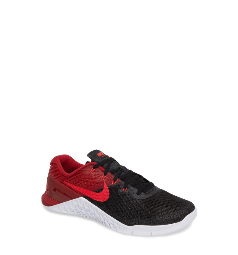 724039d5a79 Nike Metcon 3 Textured-Mesh And Rubber Sneakers In Black  Siren Red  Red