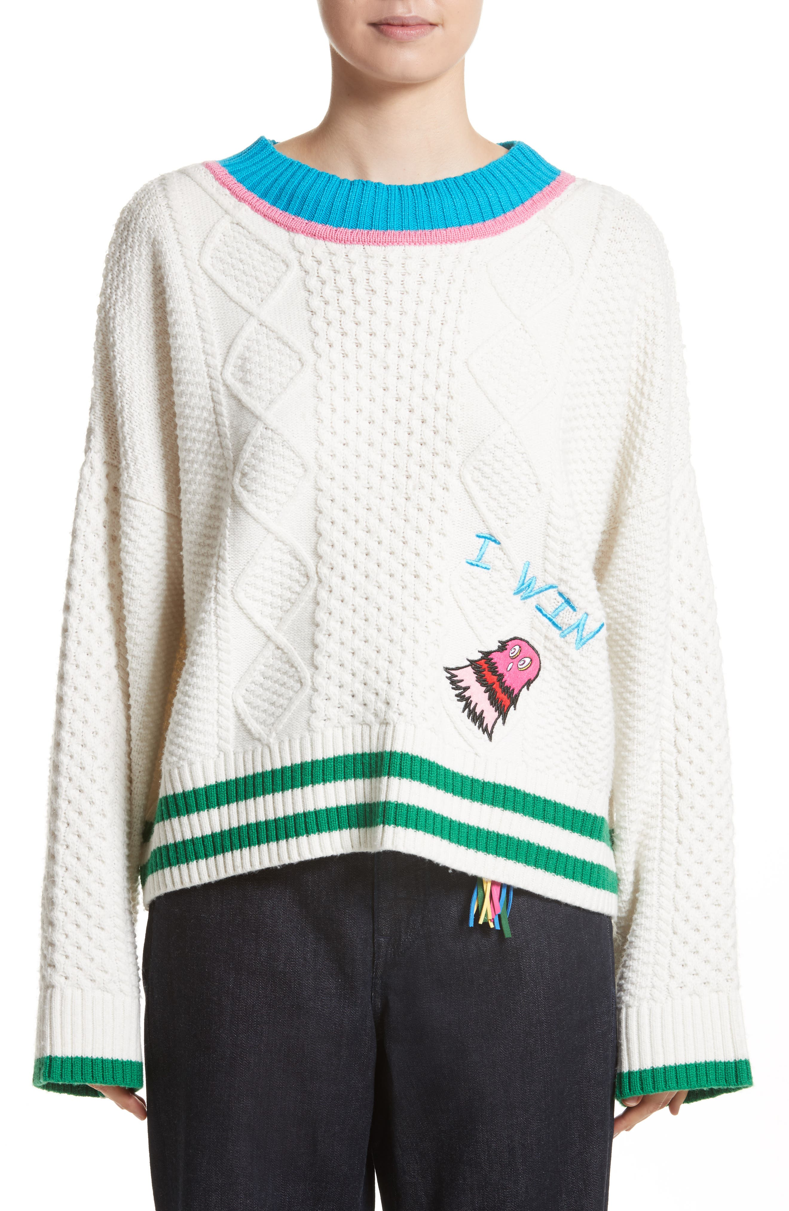 Monster Embroidered Cable Knit Sweater,                         Main,                         color, Cream