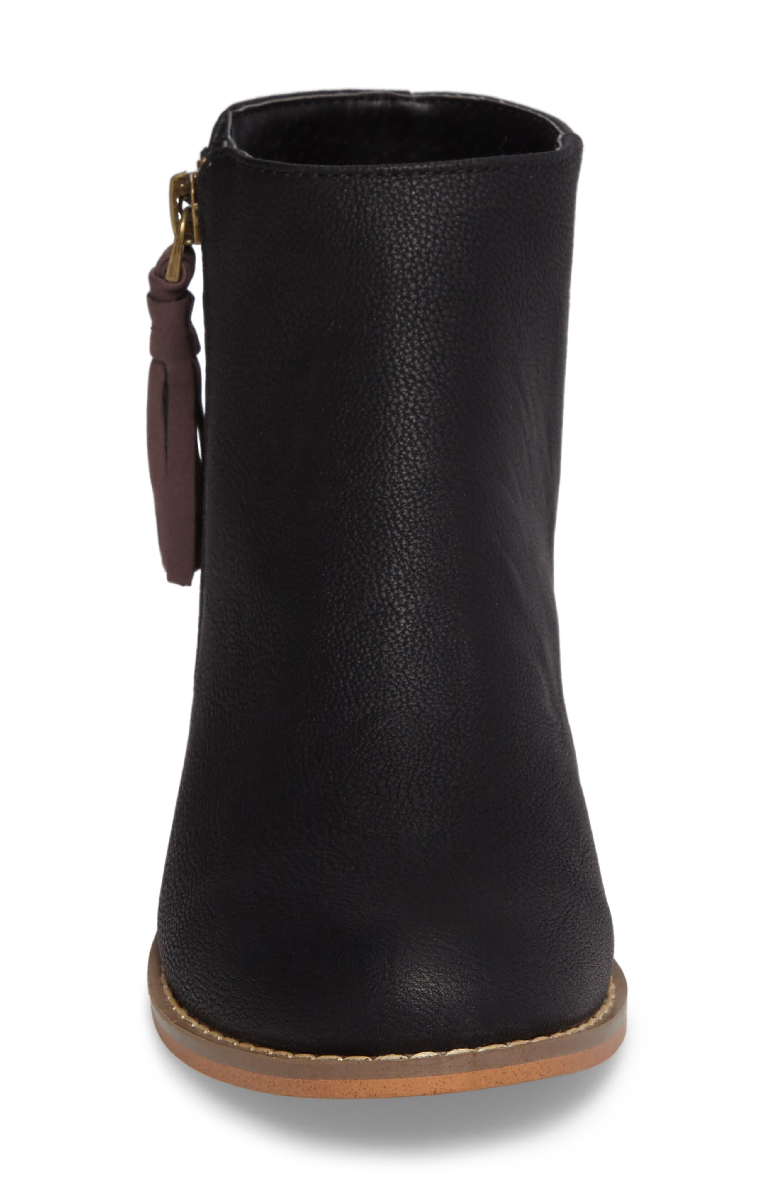 Harper Zip Bootie,                             Alternate thumbnail 4, color,                             Black Faux Leather