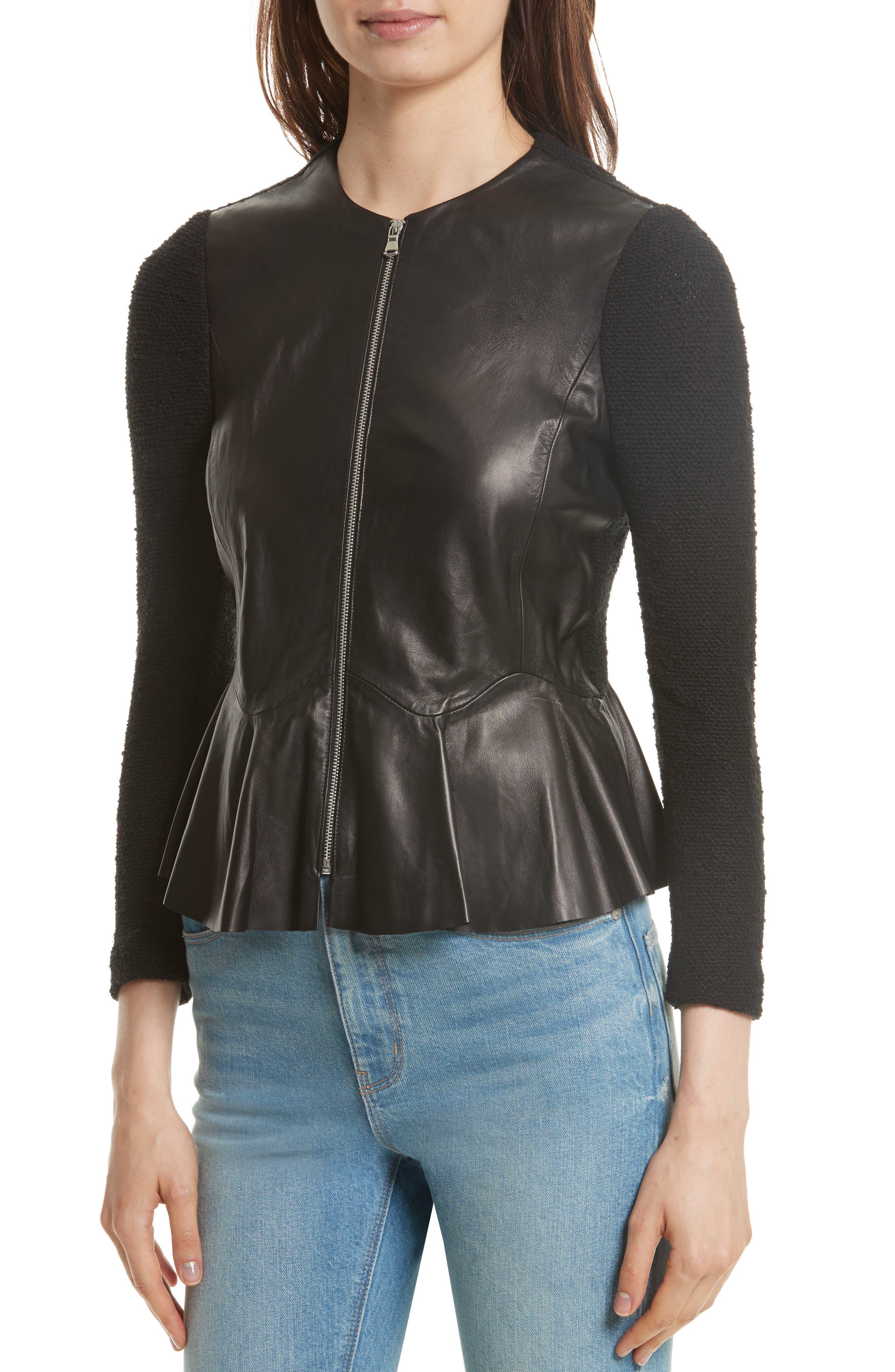 Knit & Lambskin Leather Jacket,                             Alternate thumbnail 4, color,                             Black