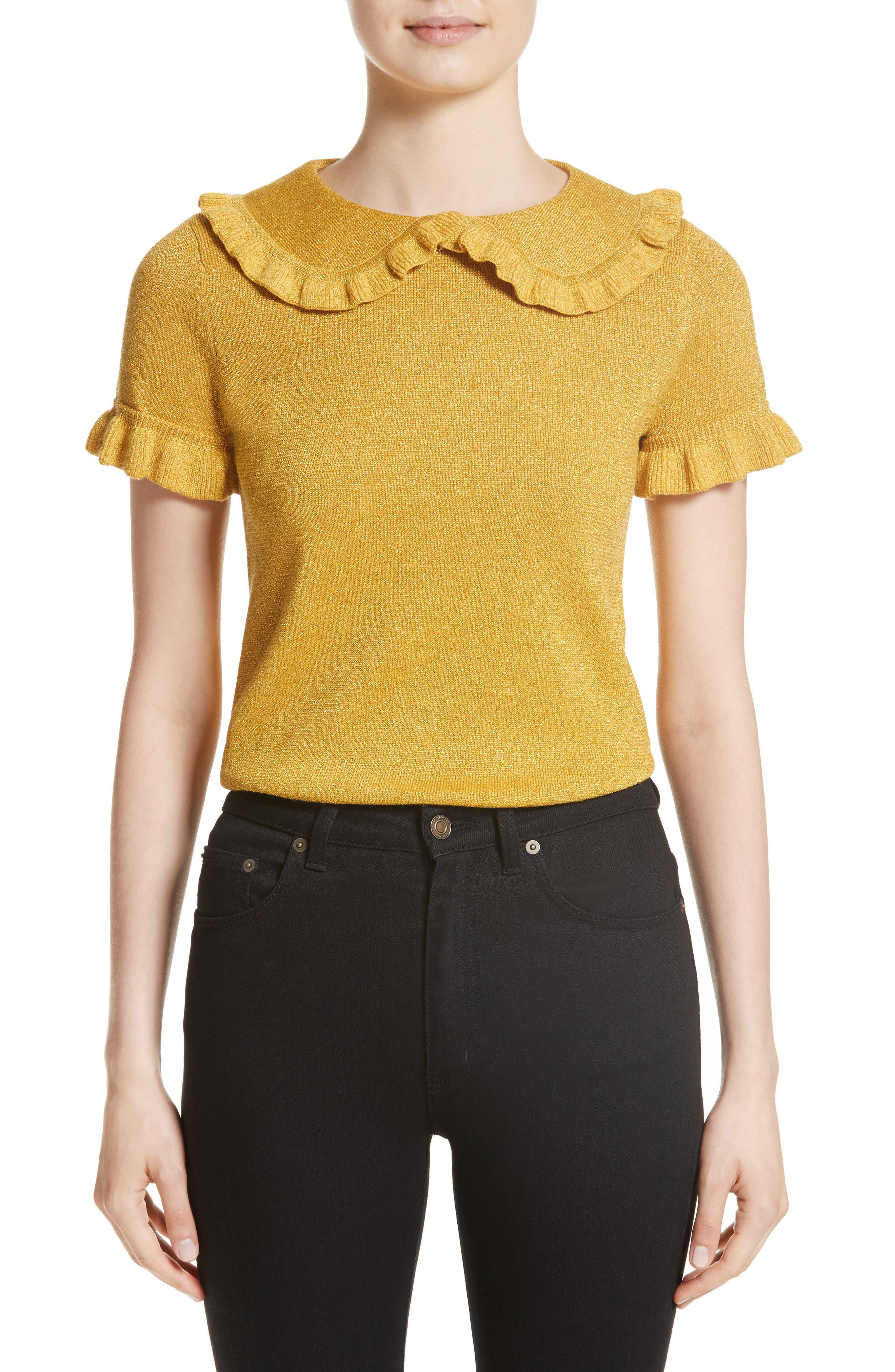 Campbell Frill Metallic Sweater,                         Main,                         color, Yellow Lurex