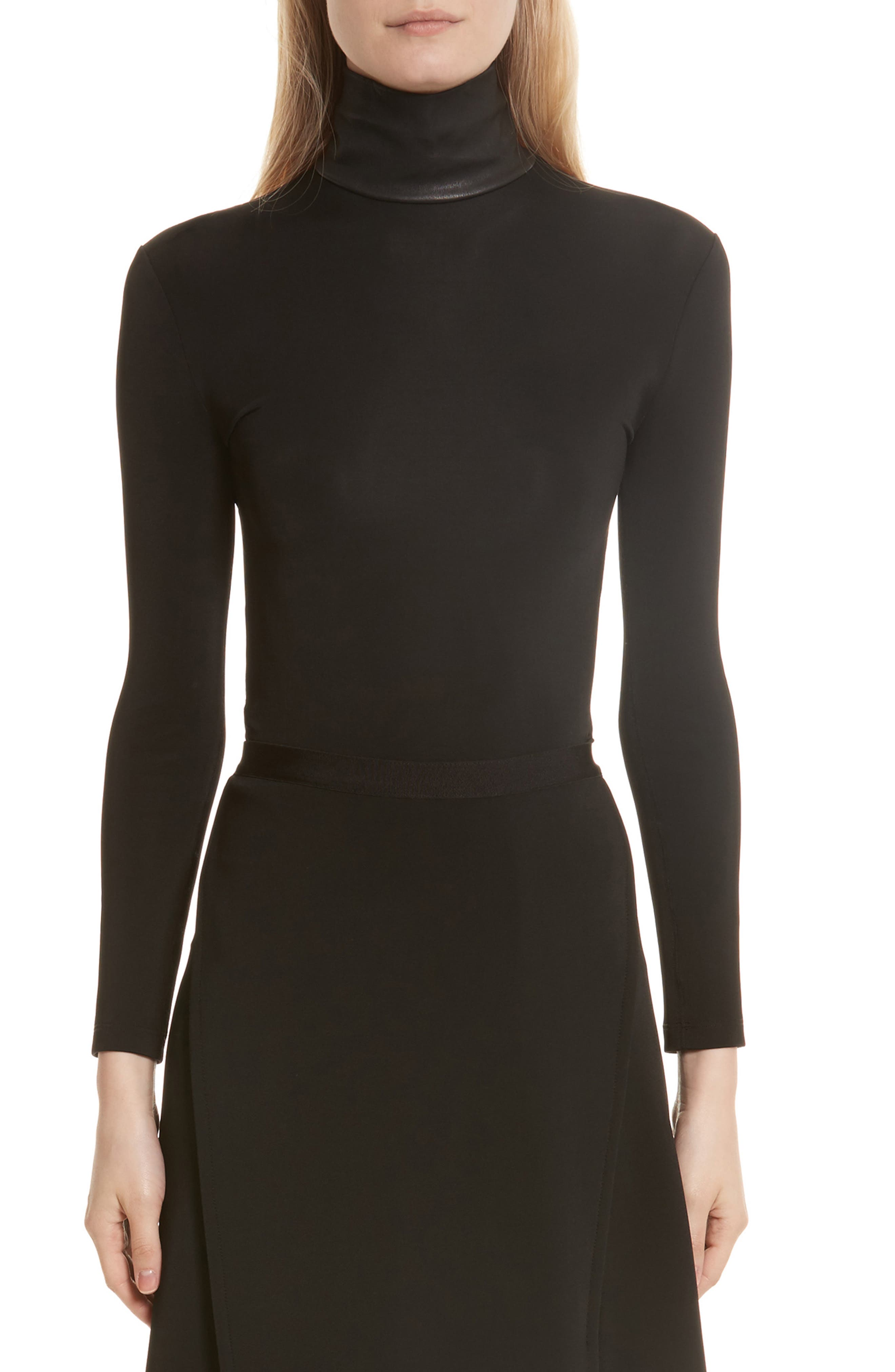 Bondage Jersey Leather Neck Top,                         Main,                         color, Black
