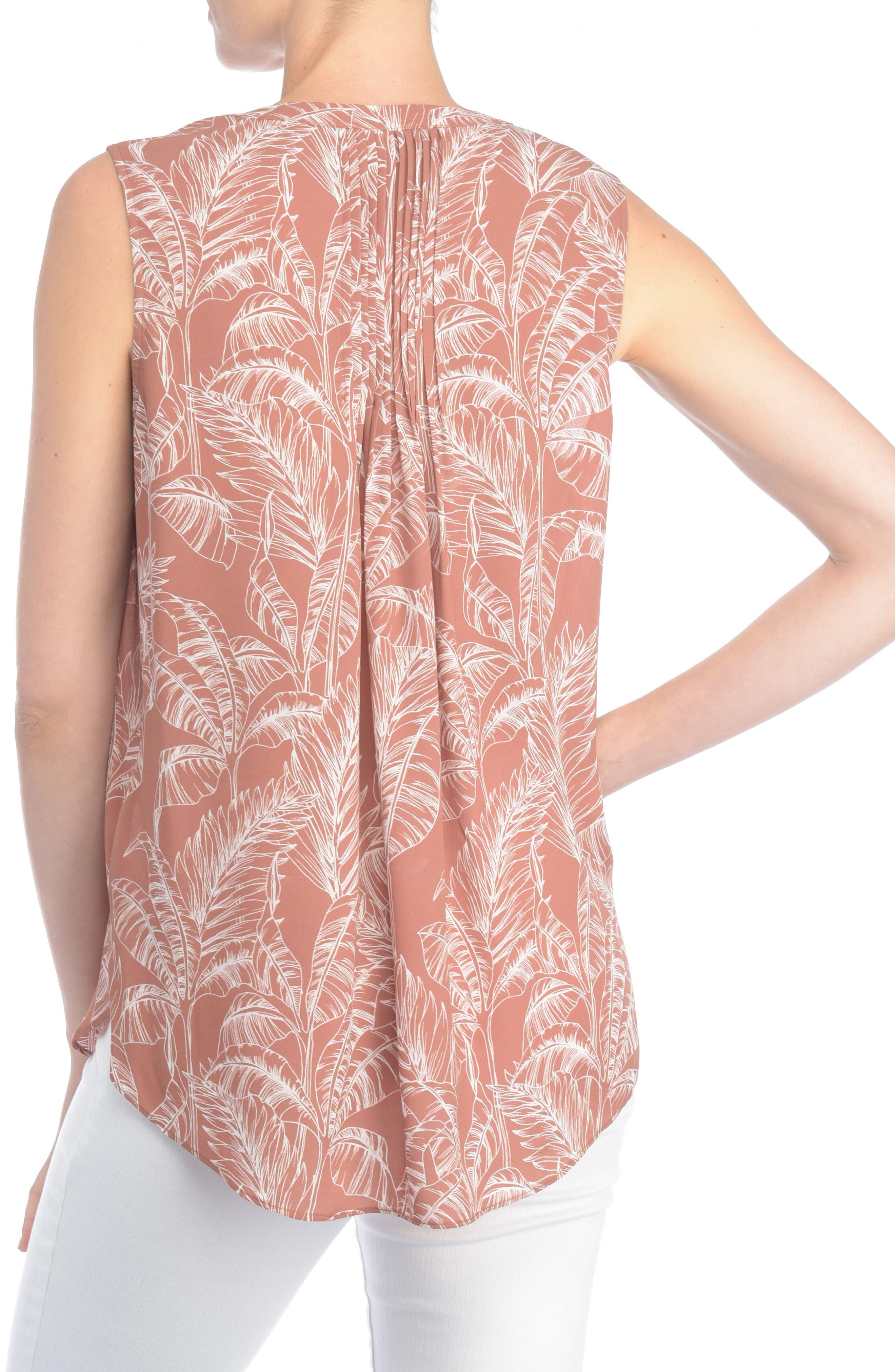 Alternate Image 2  - NYDJ Print Pleat Back Sleeveless Split Neck Blouse (Regular & Petite) (Nordstrom Exclusive)