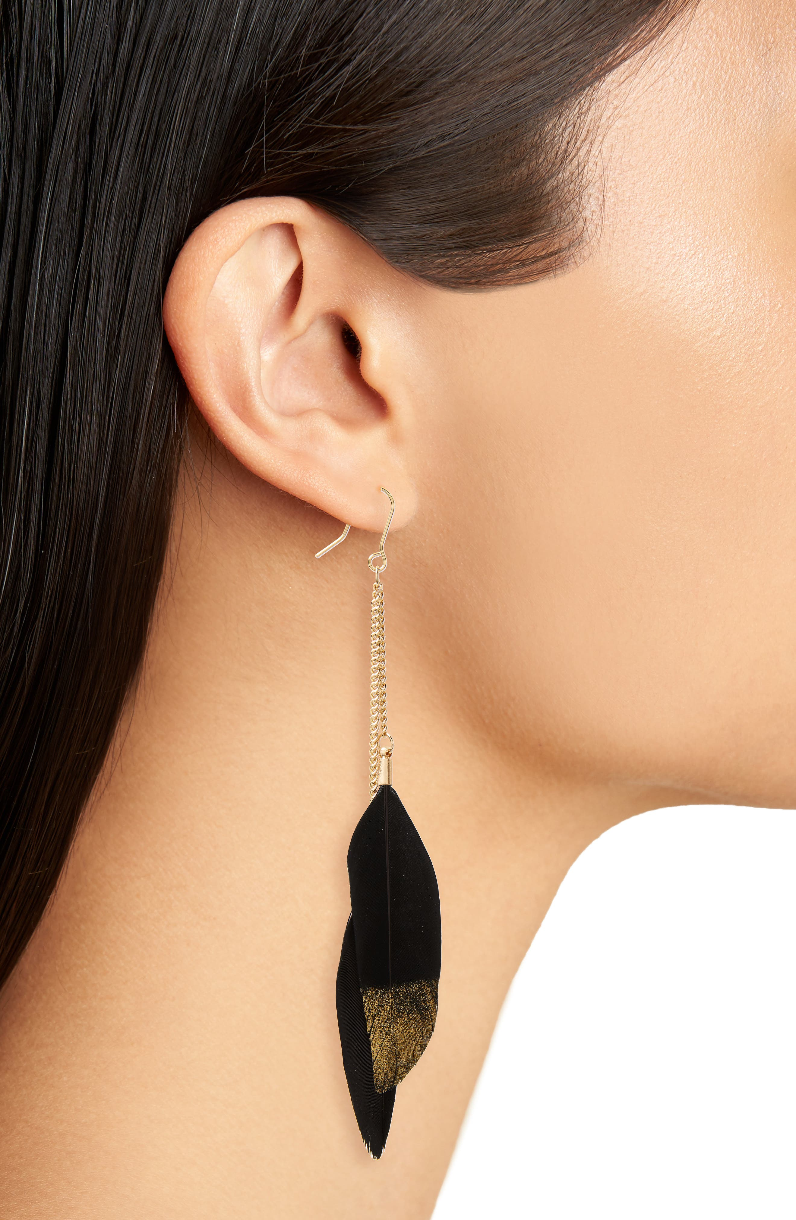 Feather Earrings,                             Alternate thumbnail 2, color,                             Black/ Gold