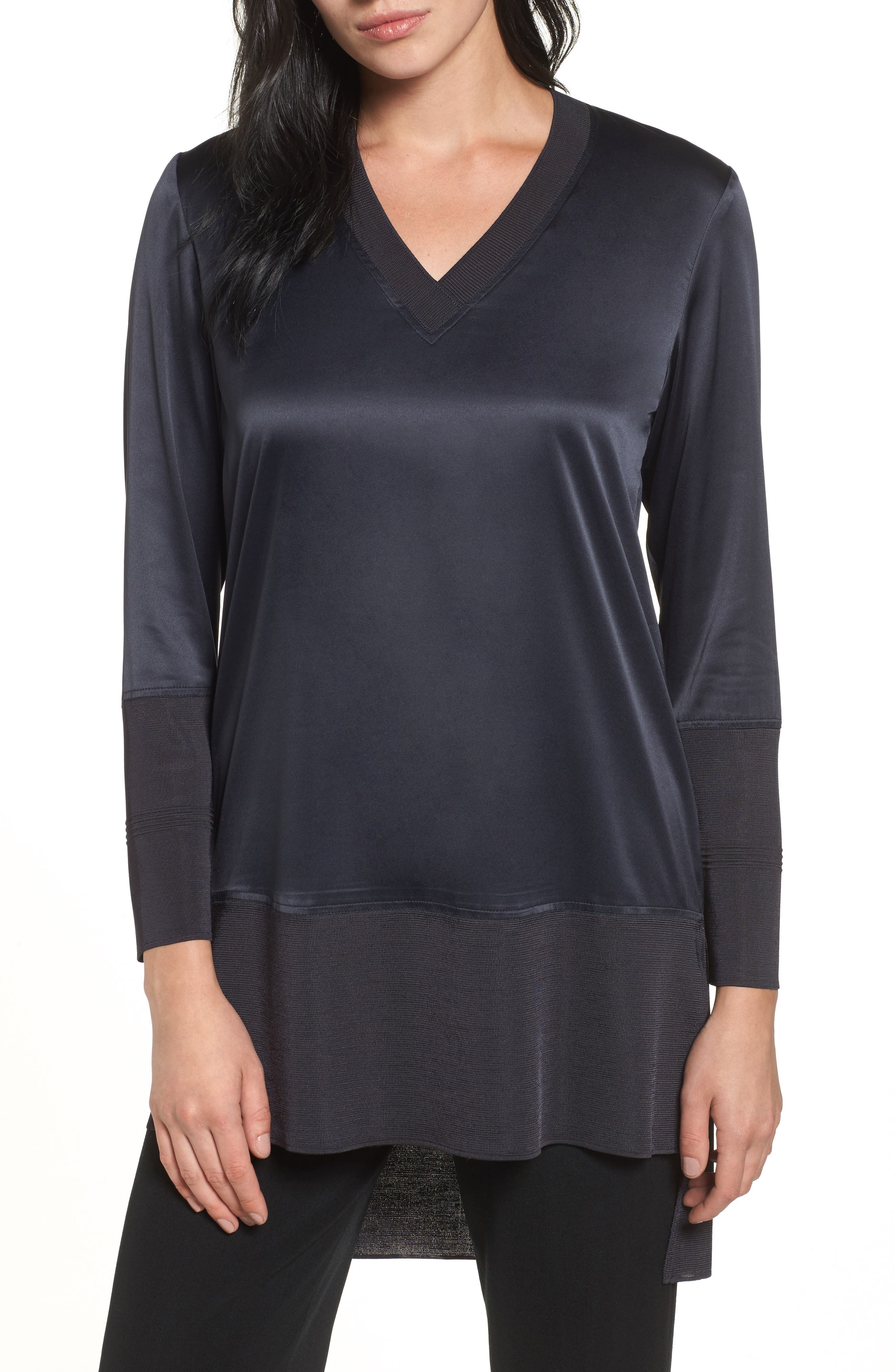 Mixed Media High/Low Tunic,                         Main,                         color, Black