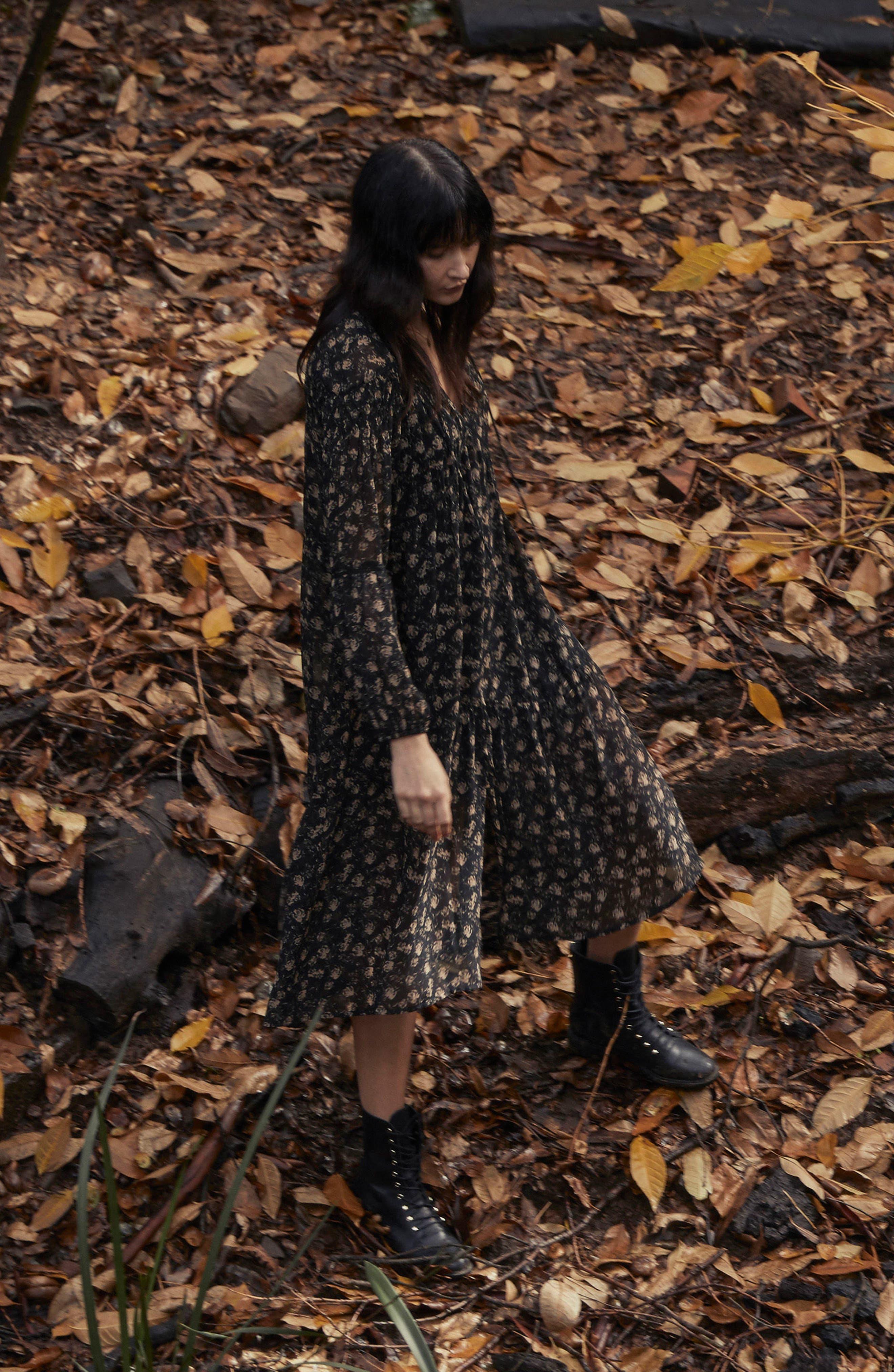 Ambrosia Shift Dress,                             Alternate thumbnail 2, color,                             Black-Tan Floral