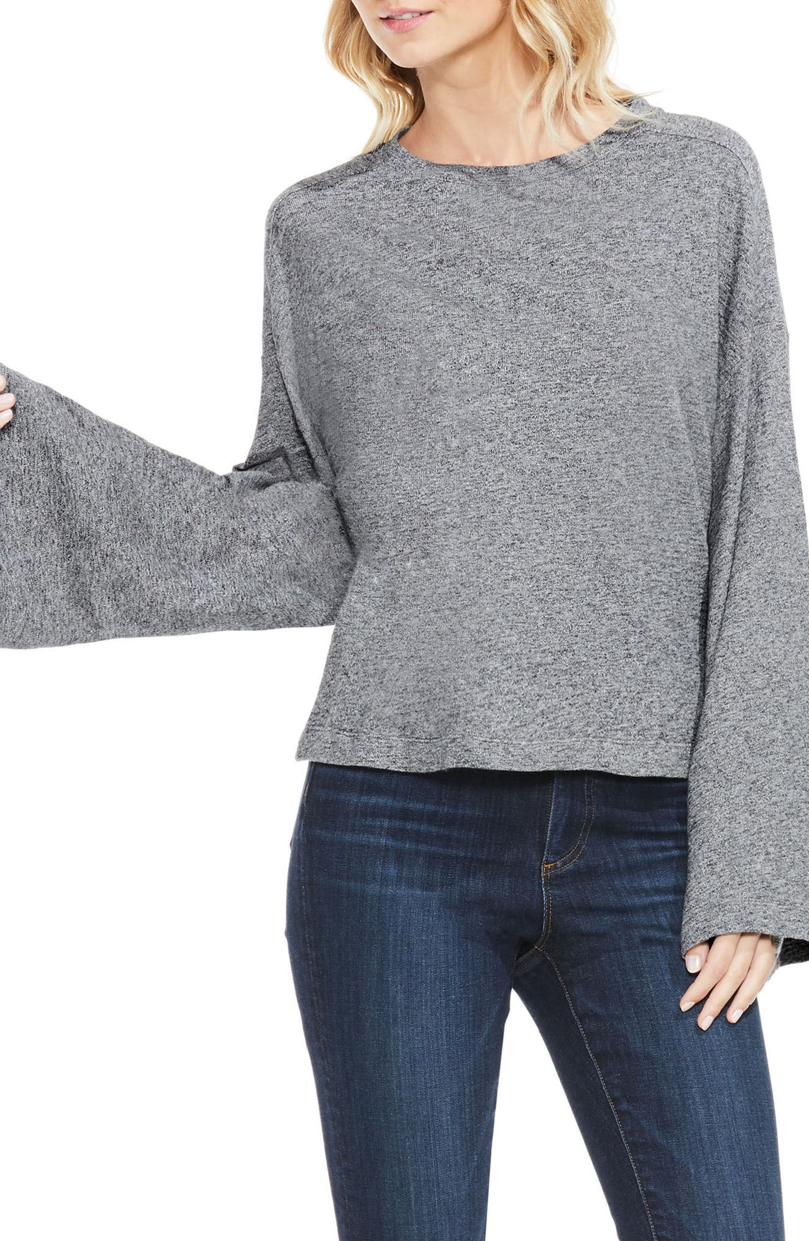 Marled Bell Sleeve Top,                         Main,                         color, Medium Heather Grey
