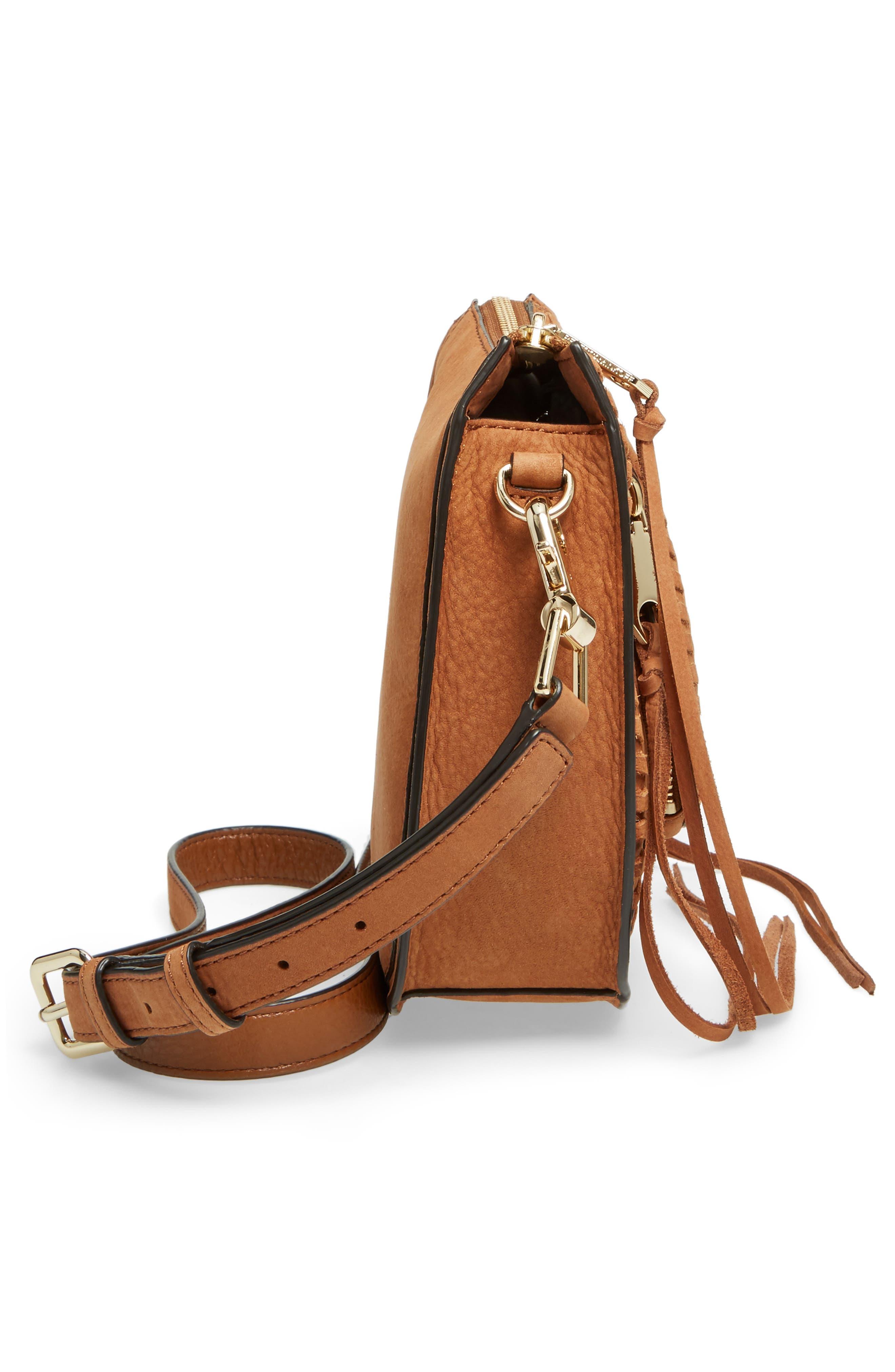 Mini Vanity Saddle Bag,                             Alternate thumbnail 5, color,                             Almond Nubuck