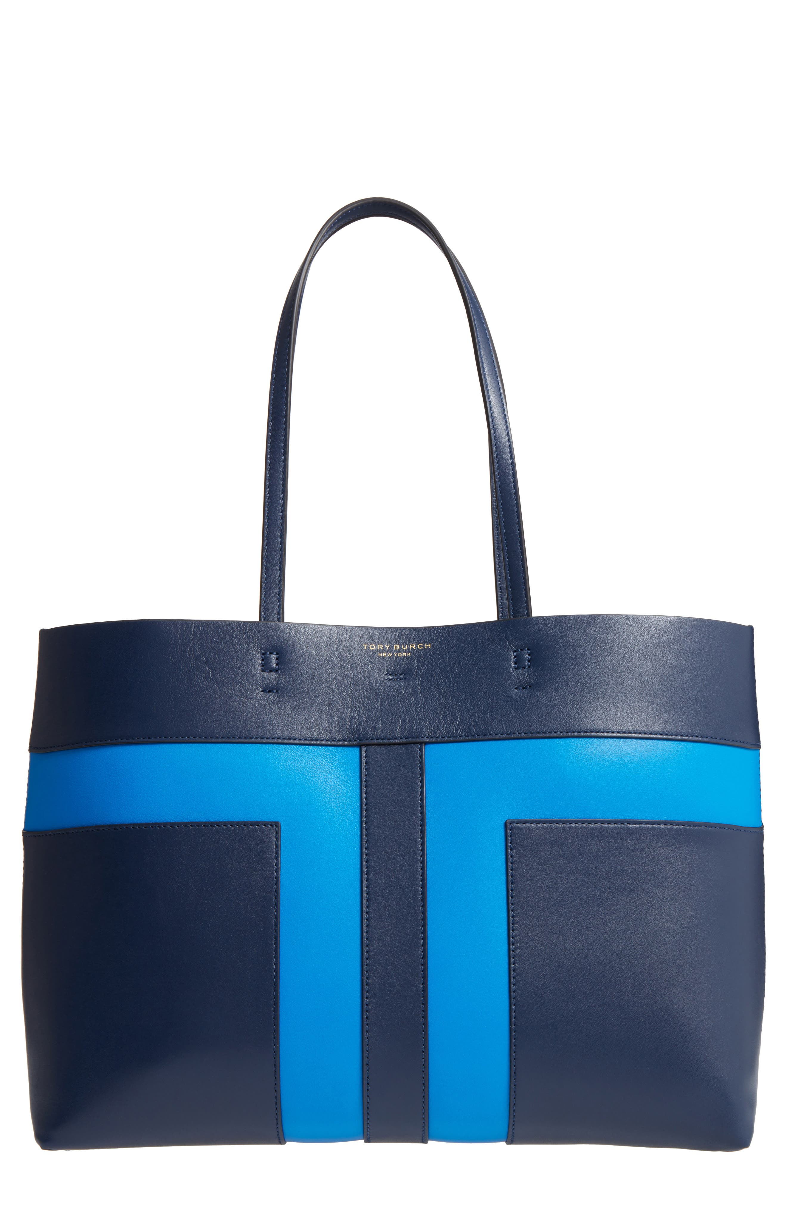 Block T Leather Tote,                         Main,                         color, Royal Navy/ Galleria Blue