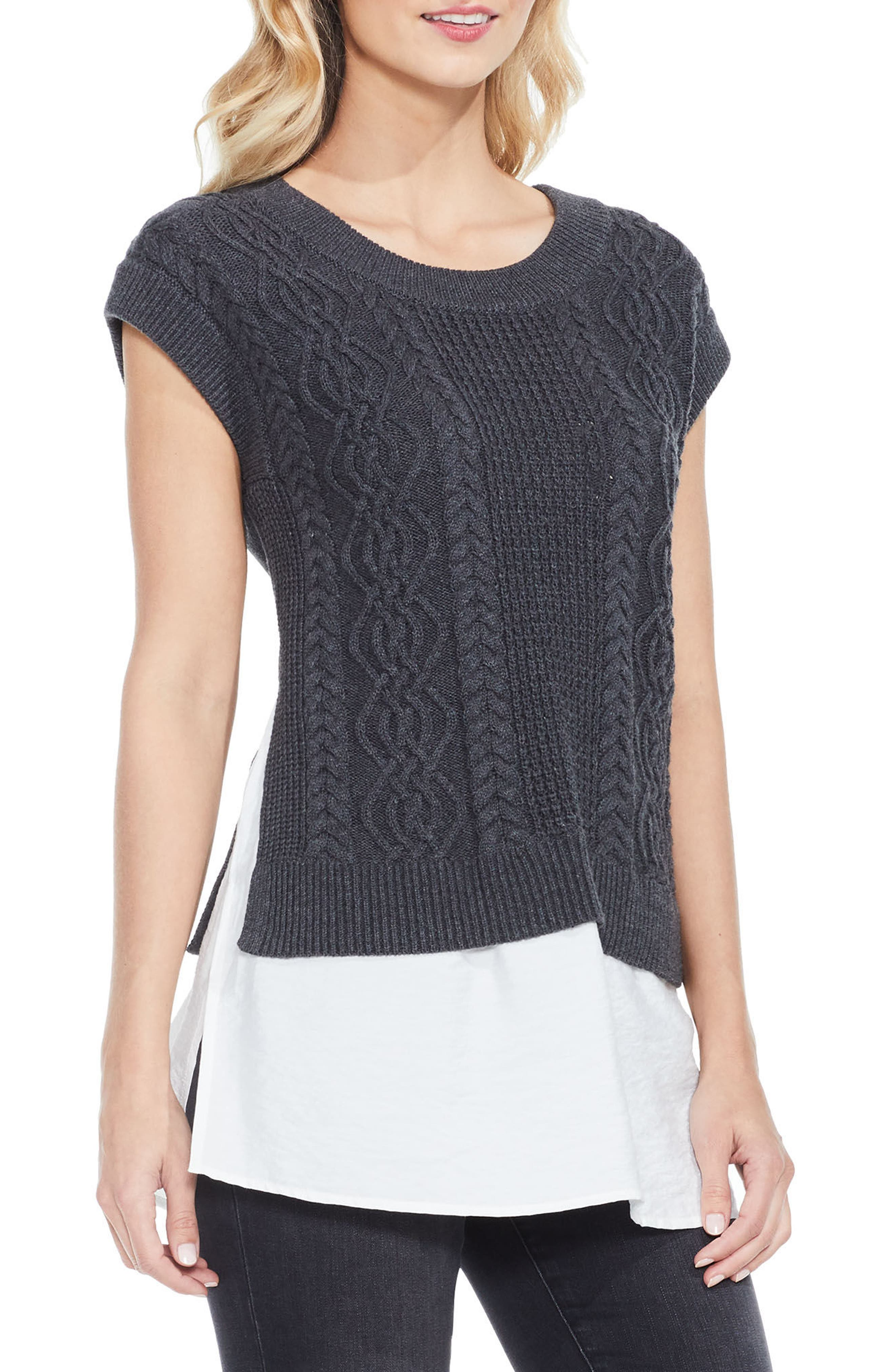 Layered Look Cable Sweater,                             Main thumbnail 1, color,                             Medium Heather Grey