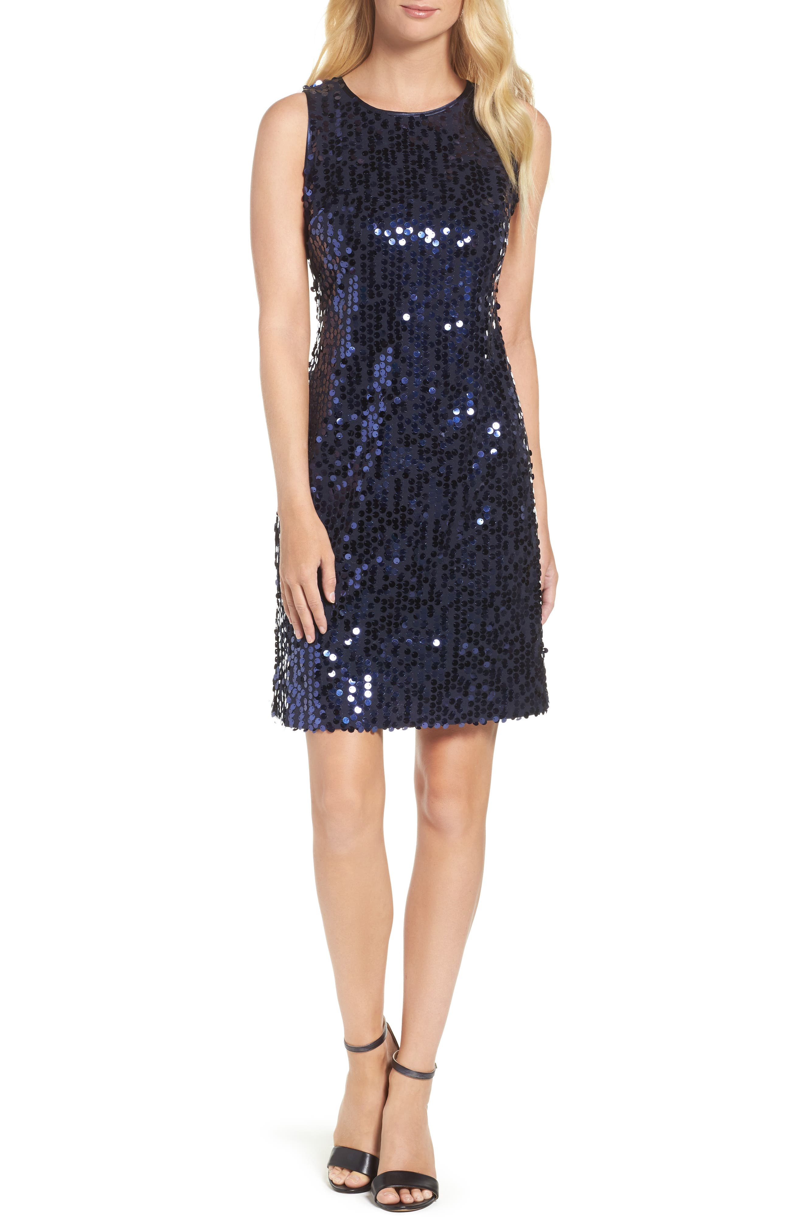 Sequin A-Line Dress,                         Main,                         color, Navy