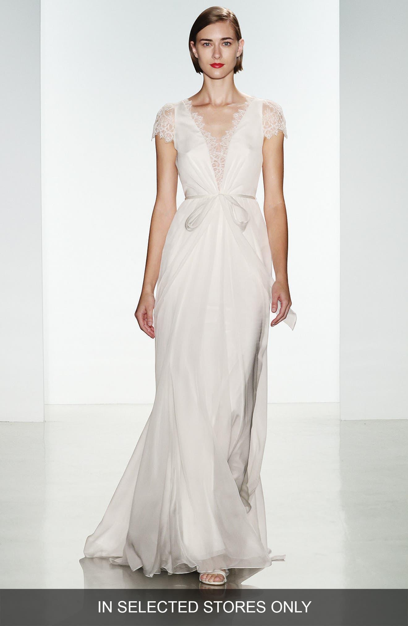 Main Image - Christos Bridal Lainee Silk Chiffon & Lace Cap Sleeve Gown