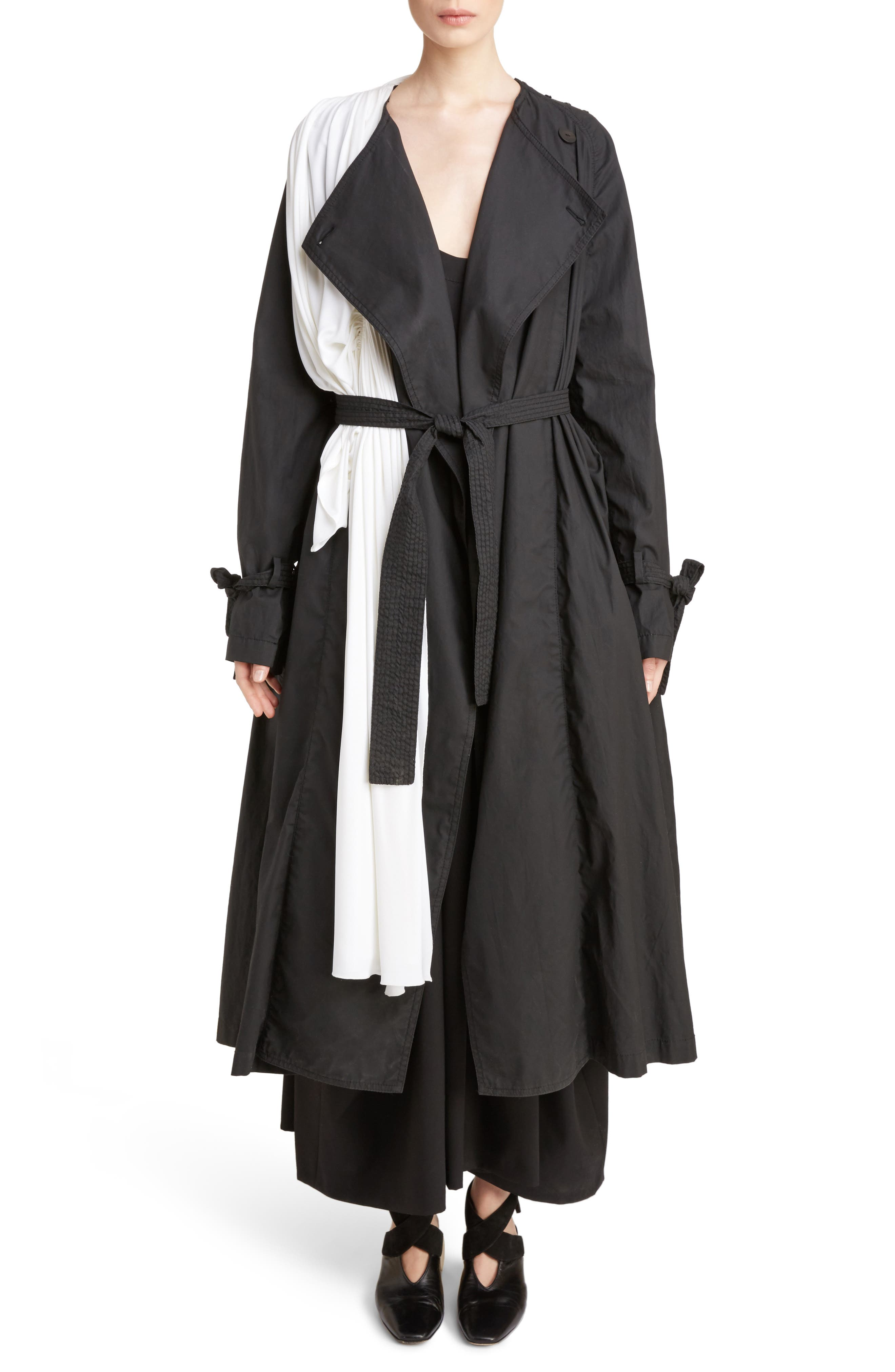 J.W.ANDERSON Draped Collar Trench Coat,                             Main thumbnail 1, color,                             Black