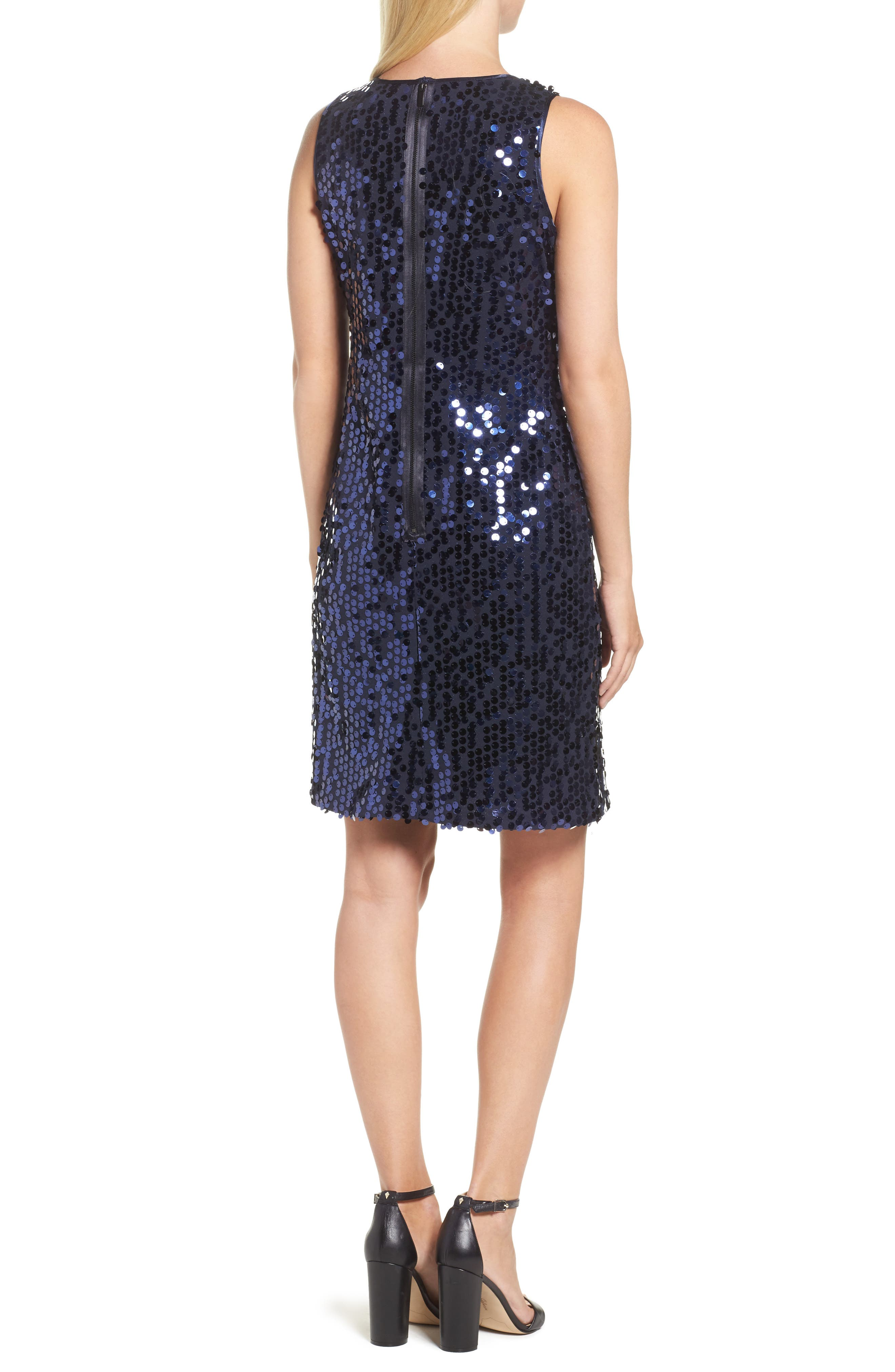 Sequin A-Line Dress,                             Alternate thumbnail 2, color,                             Navy