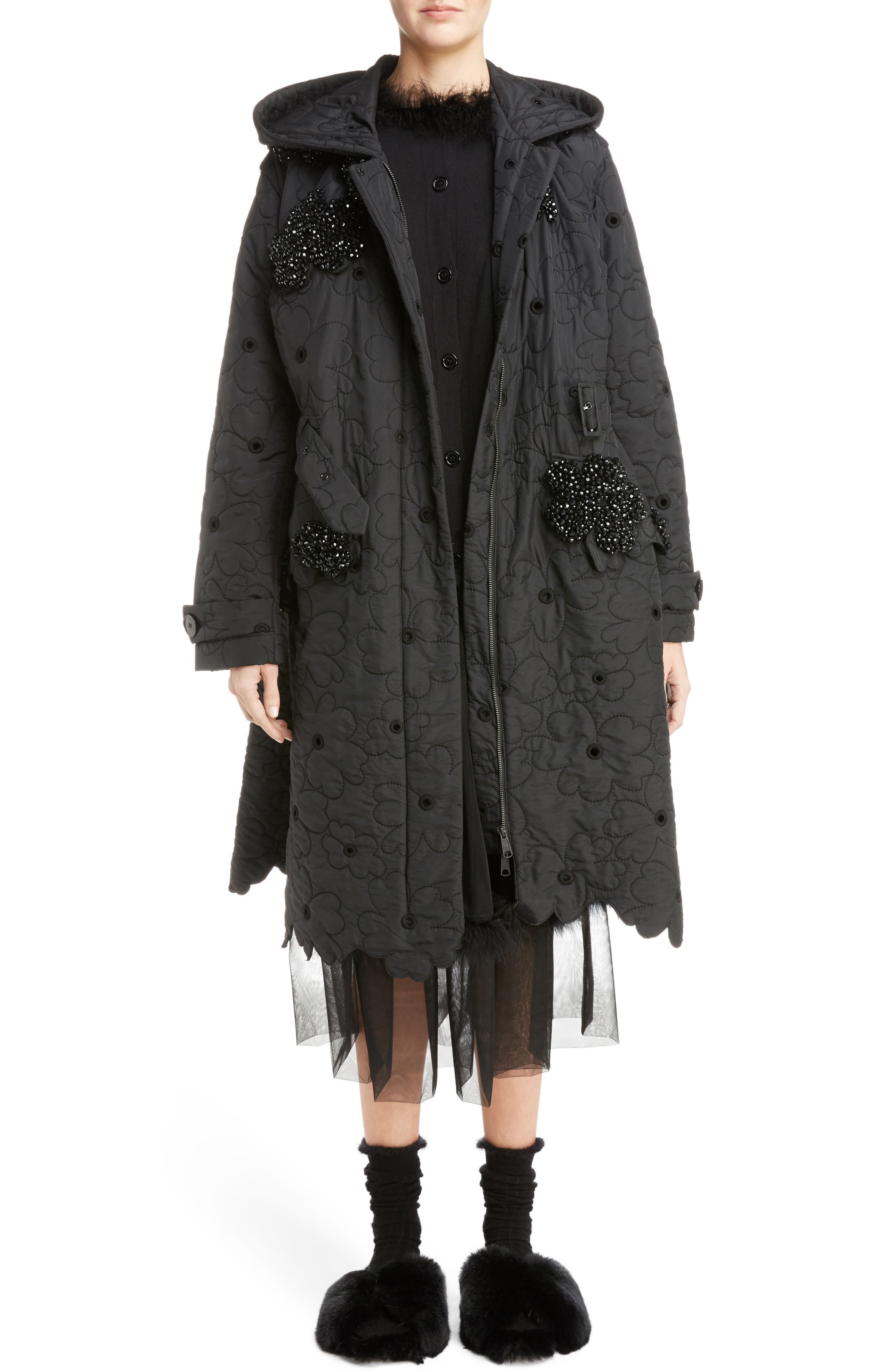 Beaded Floral Quilted Parka,                             Alternate thumbnail 6, color,                             Black