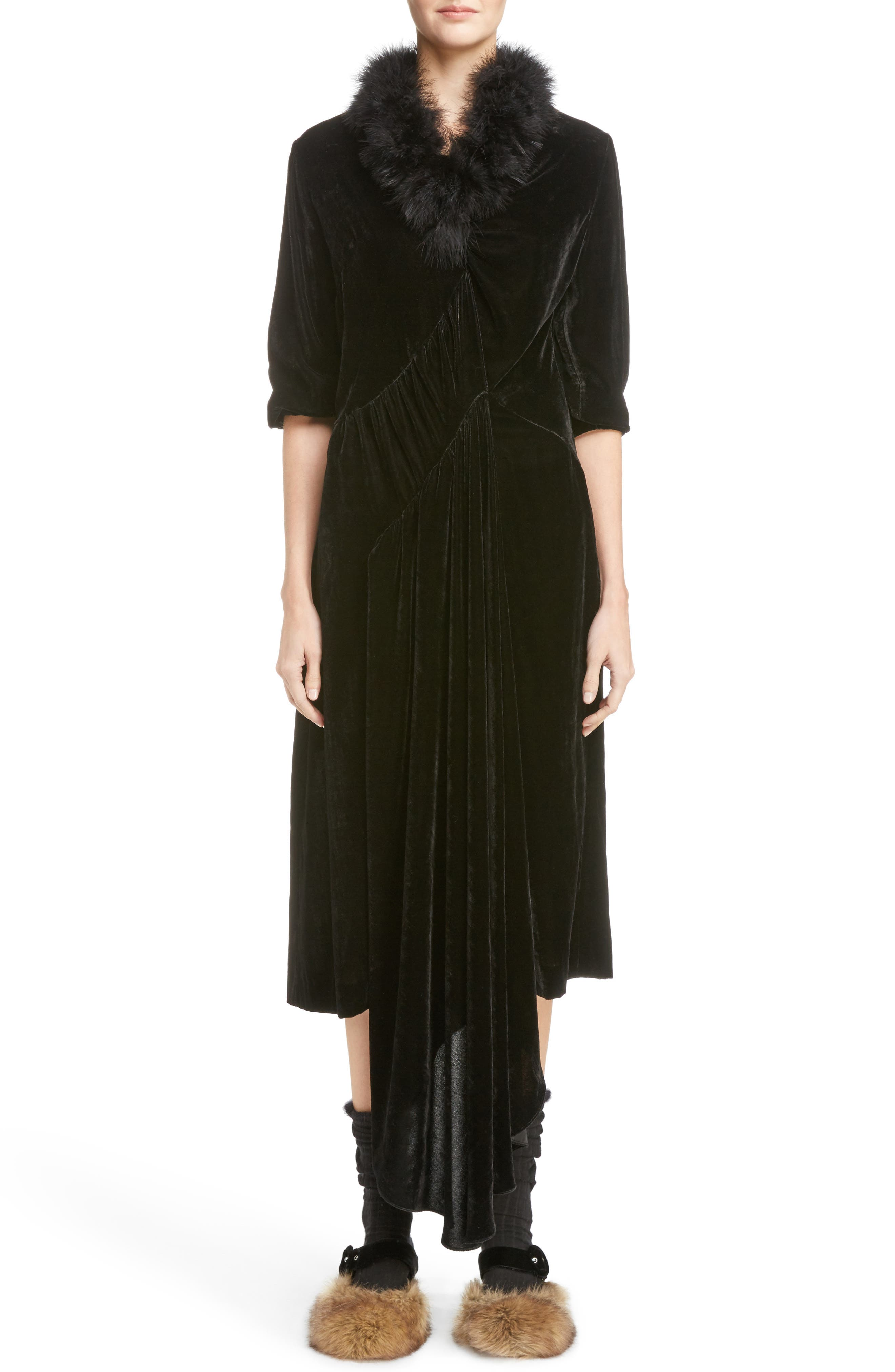 Asymmetrical Velvet Dress with Marabou Trim,                             Main thumbnail 1, color,                             Black