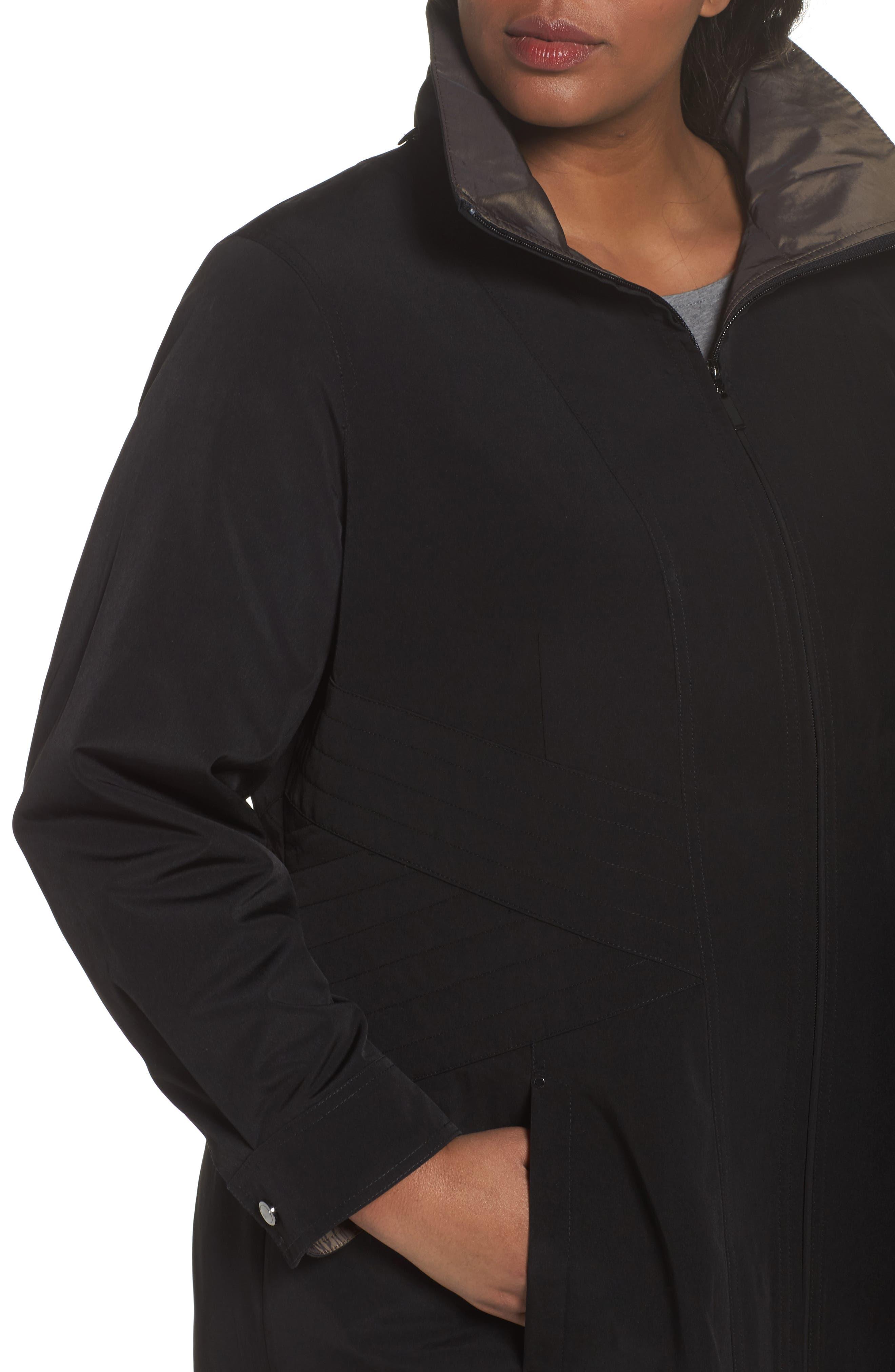 Alternate Image 4  - Gallery Two-Tone Long Silk Look Raincoat (Plus Size)