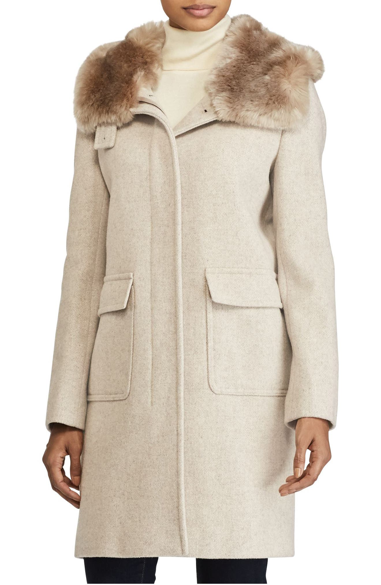Lauren Ralph Lauren Hooded Coat with Faux Fur