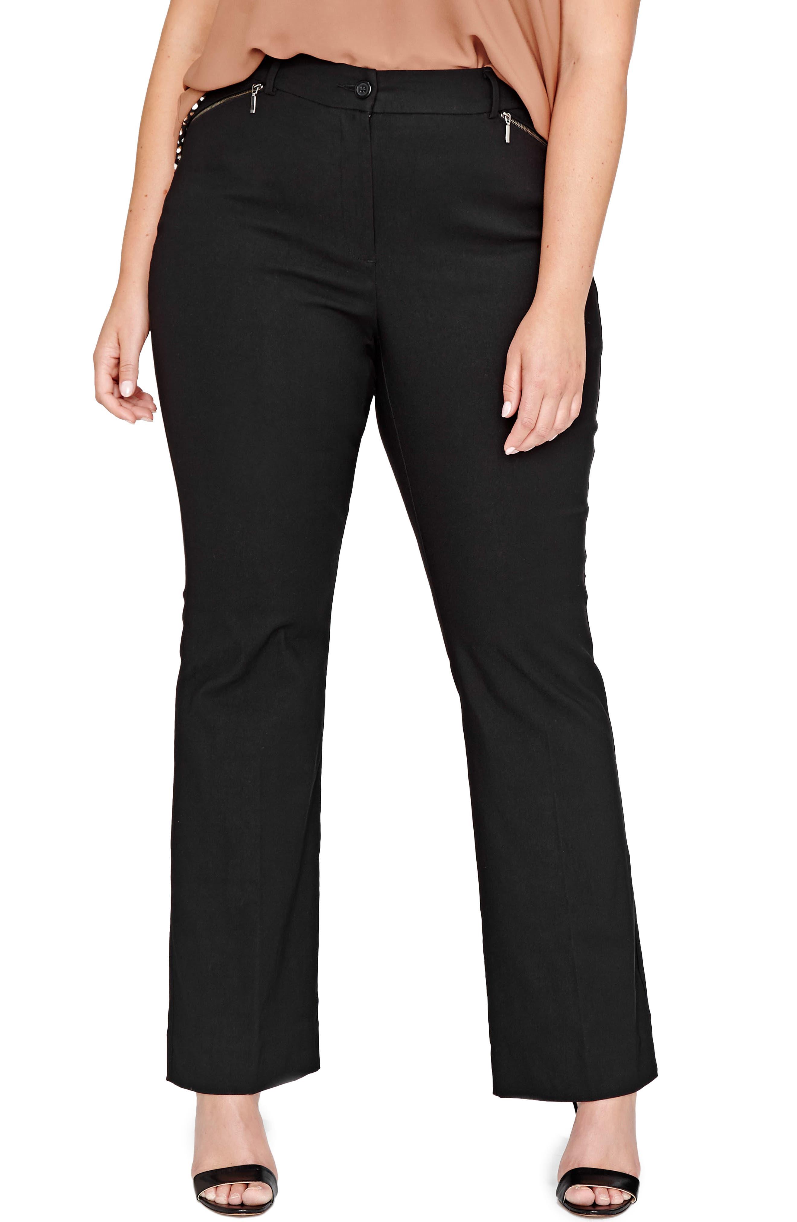 Alexa Flare Leg Pants,                         Main,                         color, Black