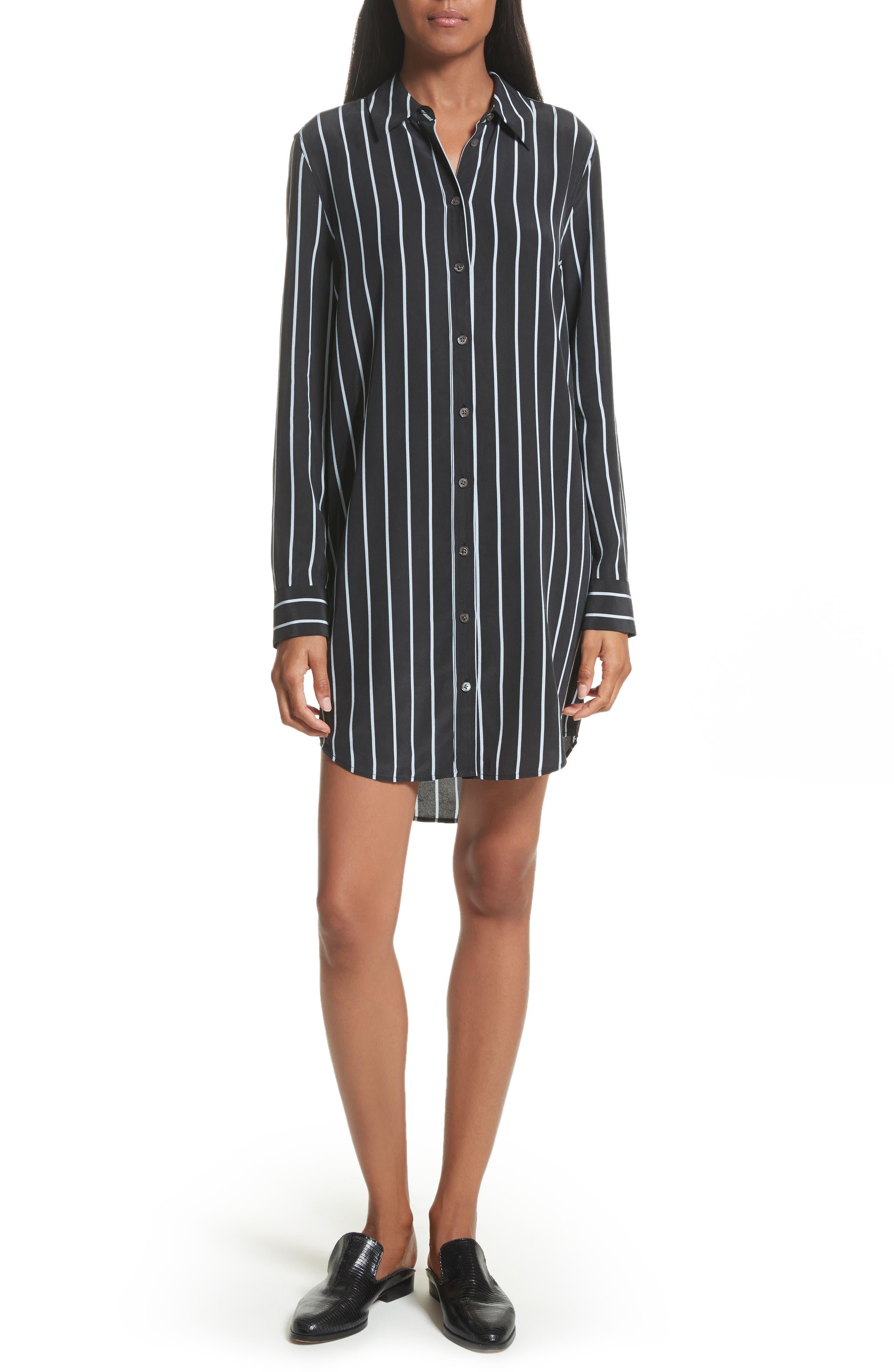 Equipment Carmine Stripe Silk Shirtdress