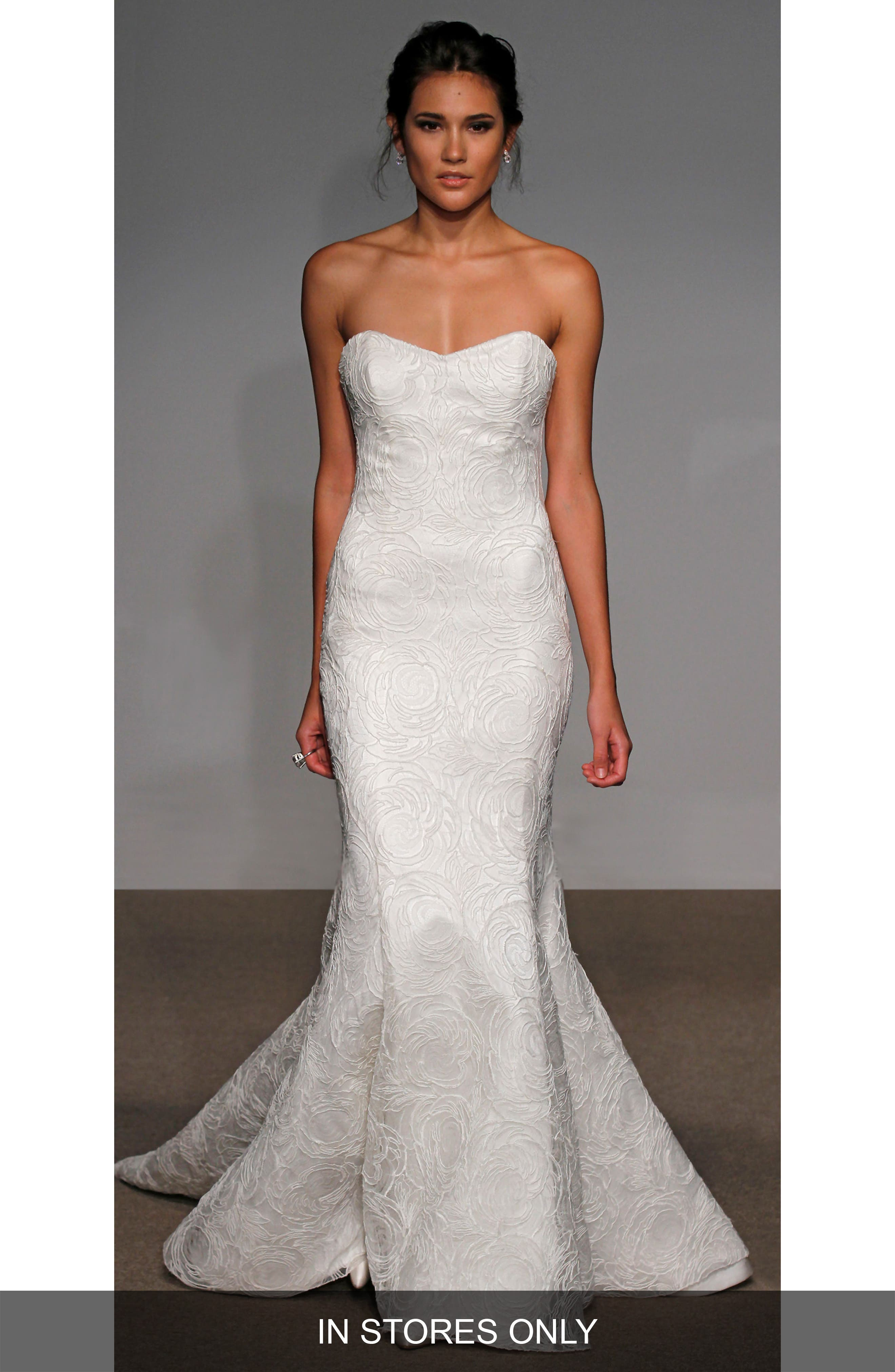 Alberta Strapless French Lace Trumpet Gown,                             Main thumbnail 1, color,                             Soft White/White
