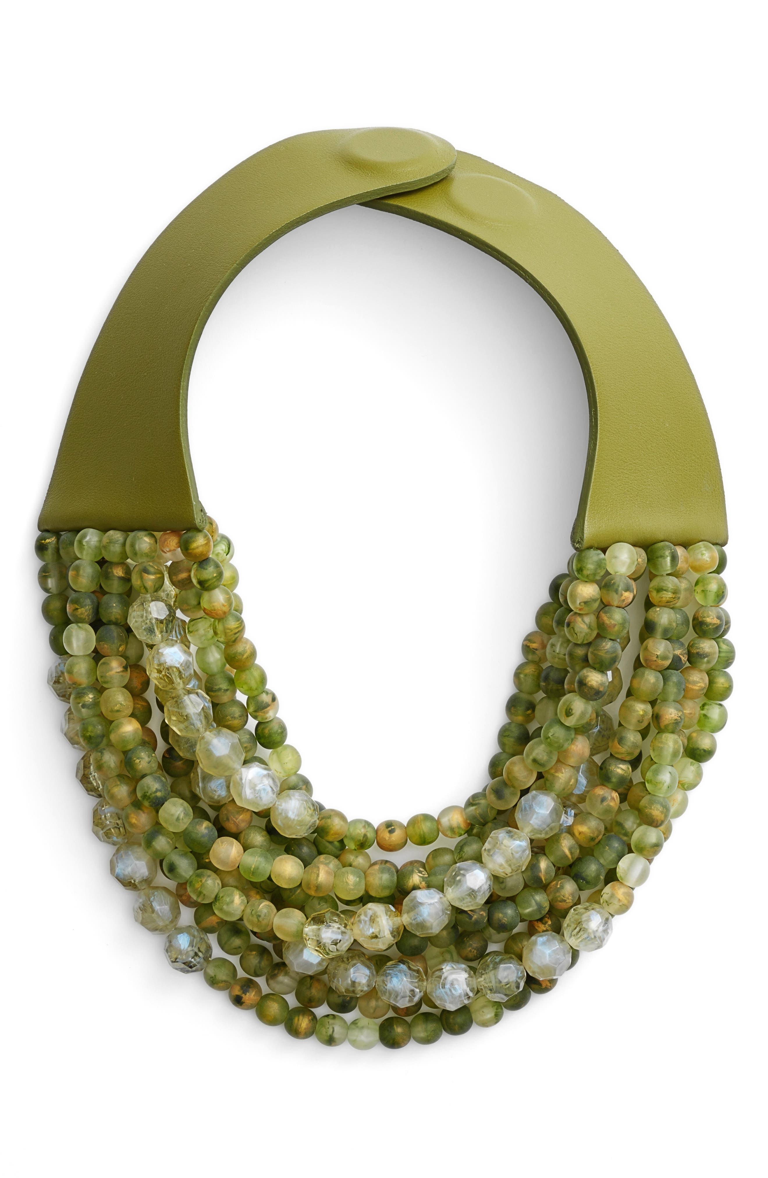 Farichild Baldwin Marcella Beaded Collar Necklace,                             Main thumbnail 1, color,                             Green Apple