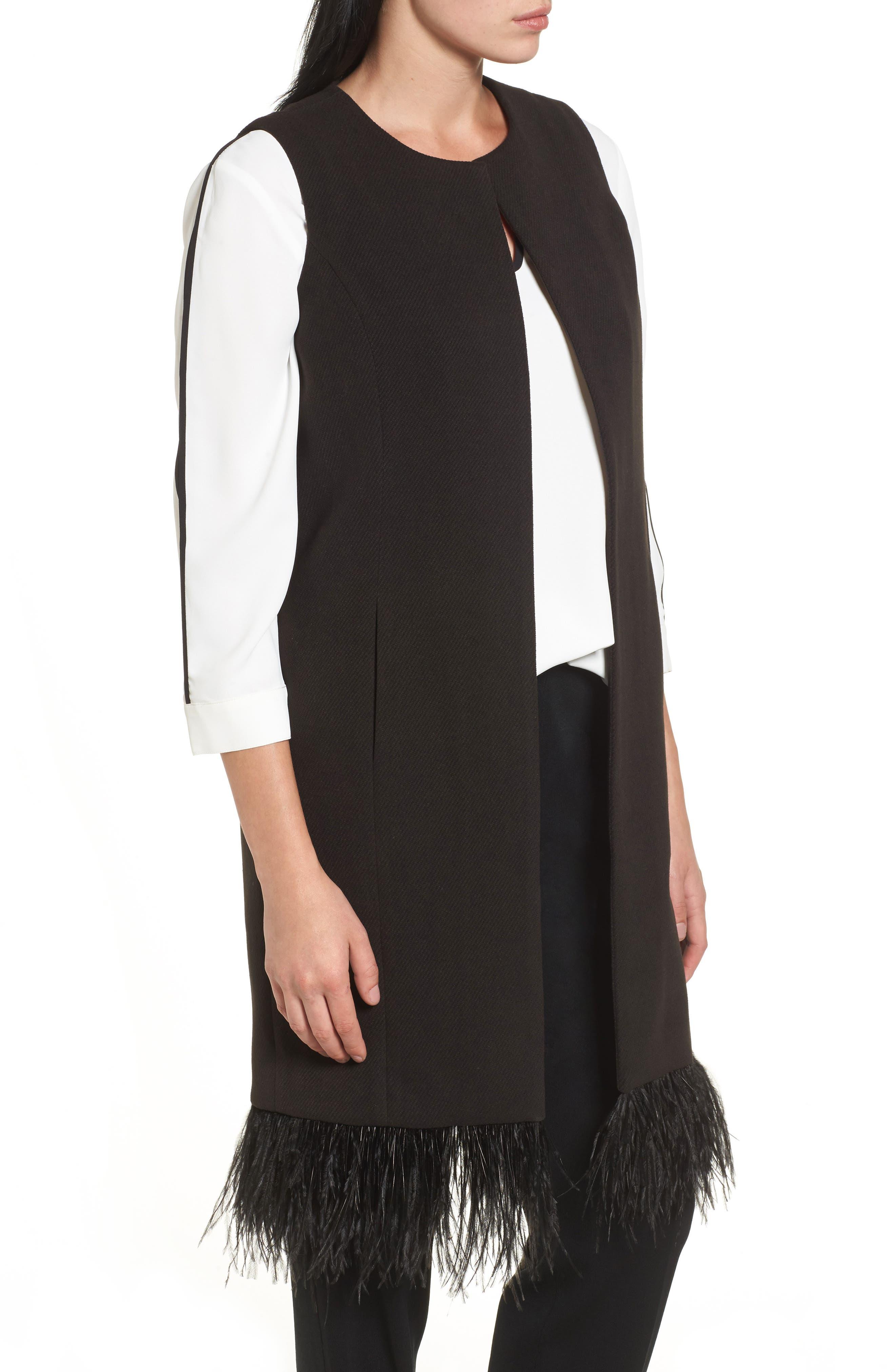 Faux Feather Trim Long Vest,                             Alternate thumbnail 3, color,                             Black