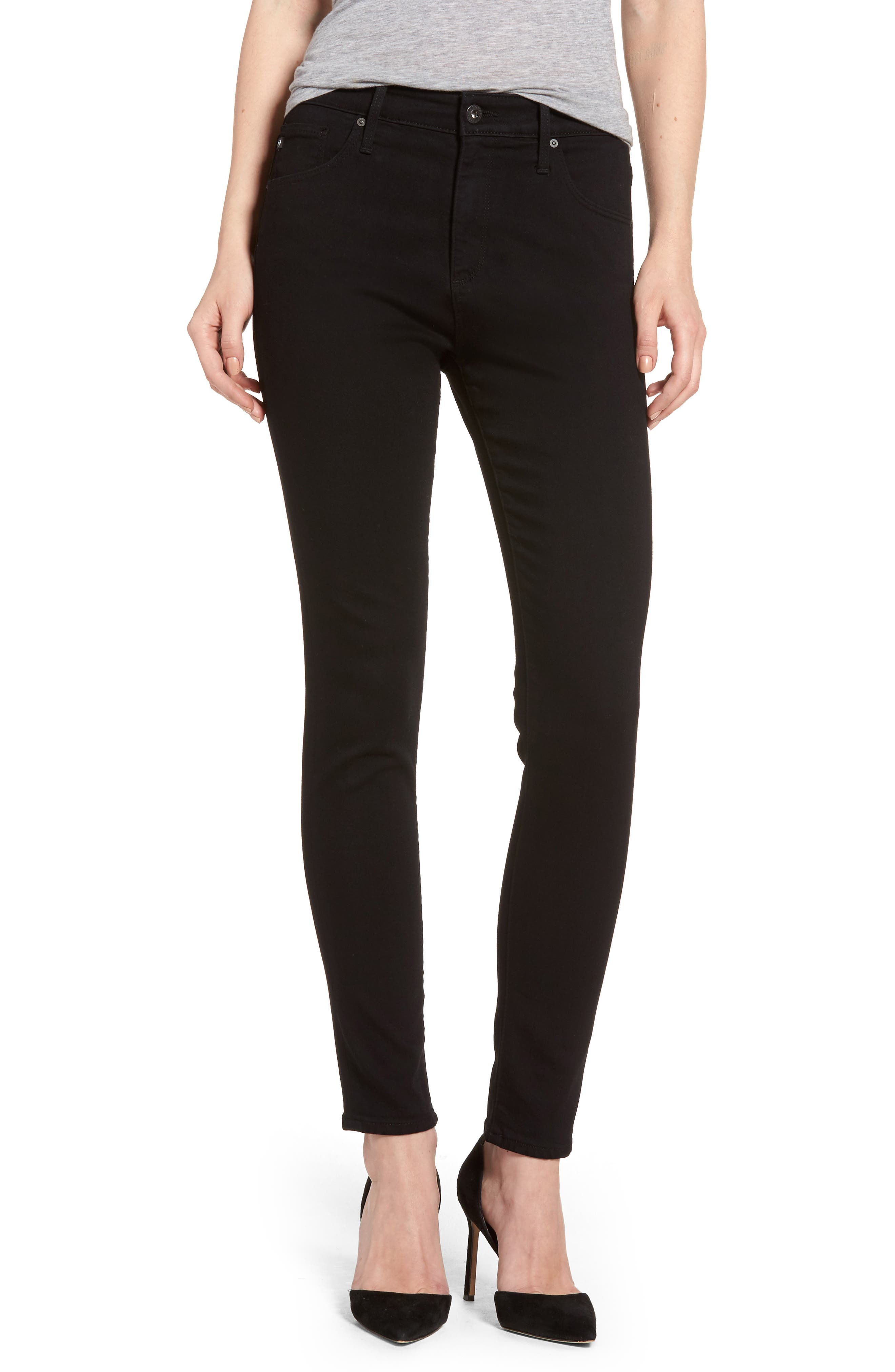 AG Farrah High Waist Ankle Skinny Jeans (Super Black)